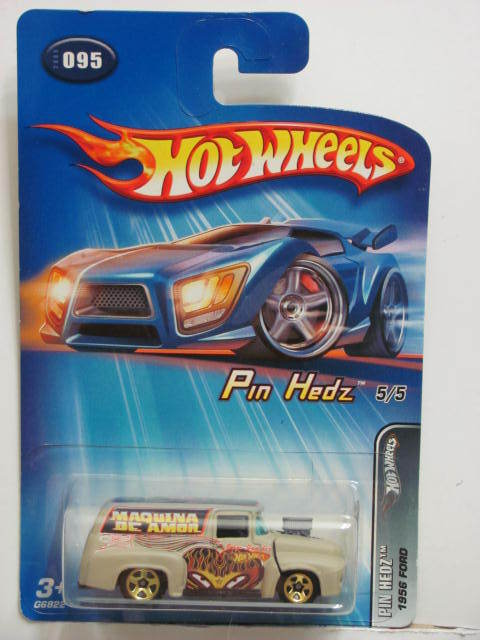 HOT WHEELS 2005 PIN HEDZ 1956 FORD TAN #095