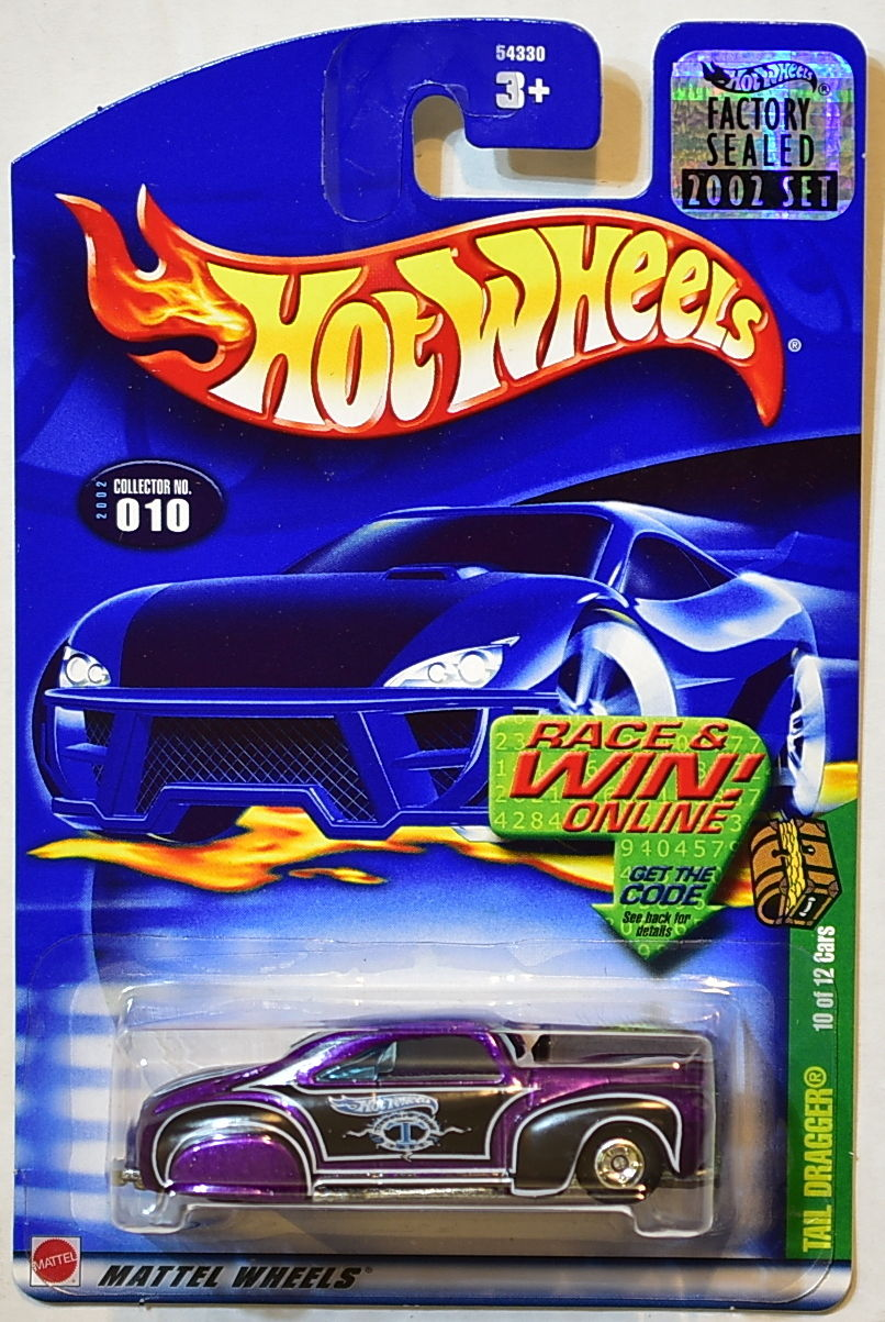 HOT WHEELS 2002 TREASURE HUNT TAIL DRAGGER #010 FACTORY SEALED