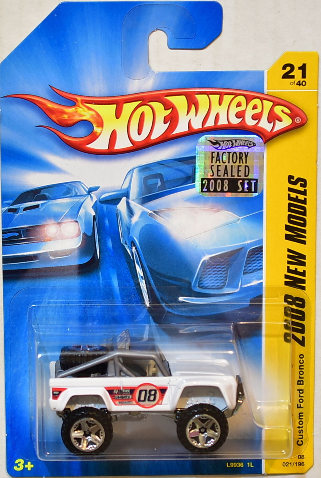 HOT WHEELS 2008 NEW MODELS CUSTOM FORD BRONCO #21/40 WHITE FACTORY SEALED