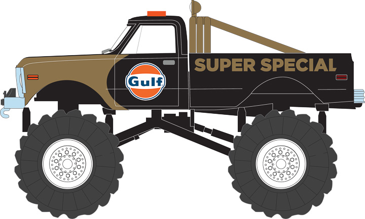 GREENLIGHT KINGS OF CRUNCH SERIES 1 - GULF OIL SUPER SPECIAL - 1971 CHEVROLET K-10 MONSTER TRUCK