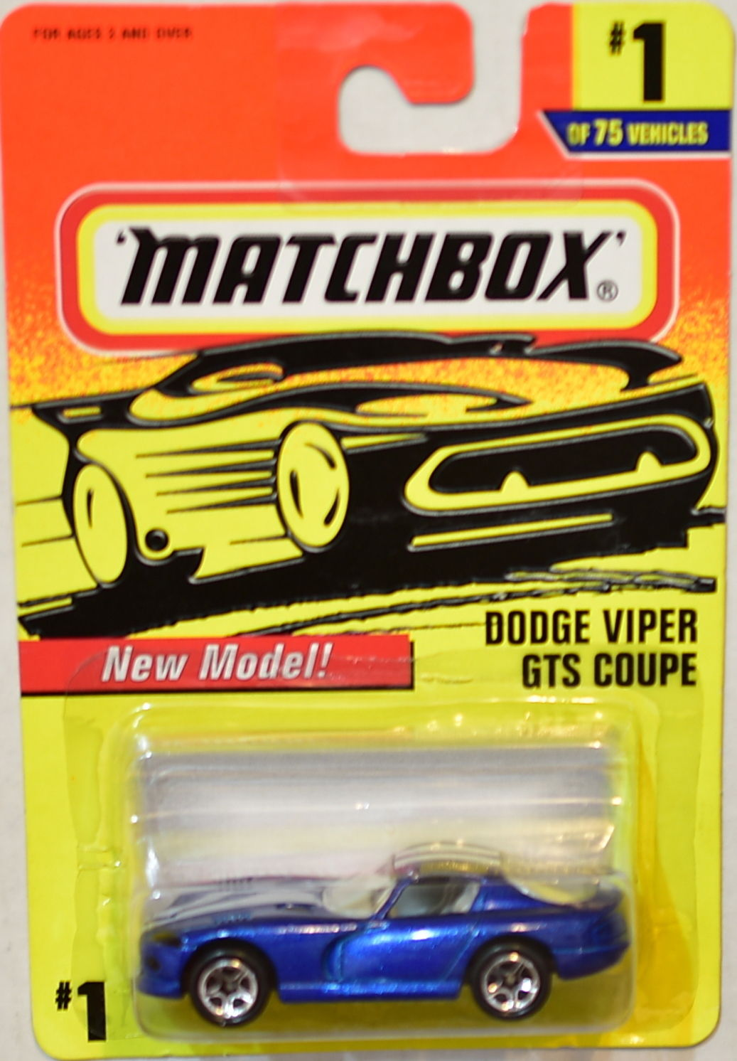 MATCHBOX 1997 DODGE VIPER GTS COUPE NEW MODEL #1/75 E+