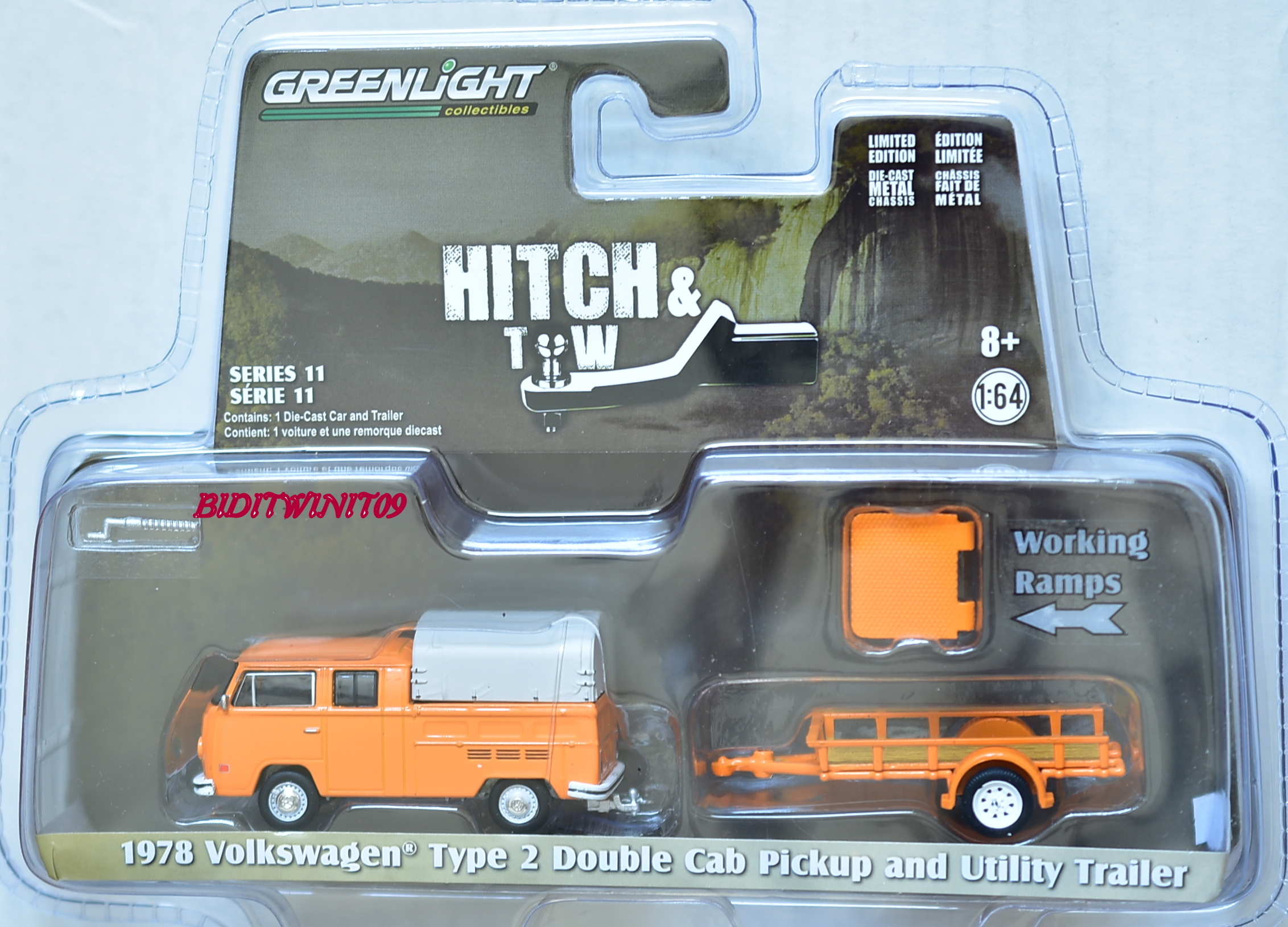 GREENLIGHT HITCH & TOW 1978 VW TYPE 2 DOUBLE CAB PICKUP AND UTILITY TRAILER