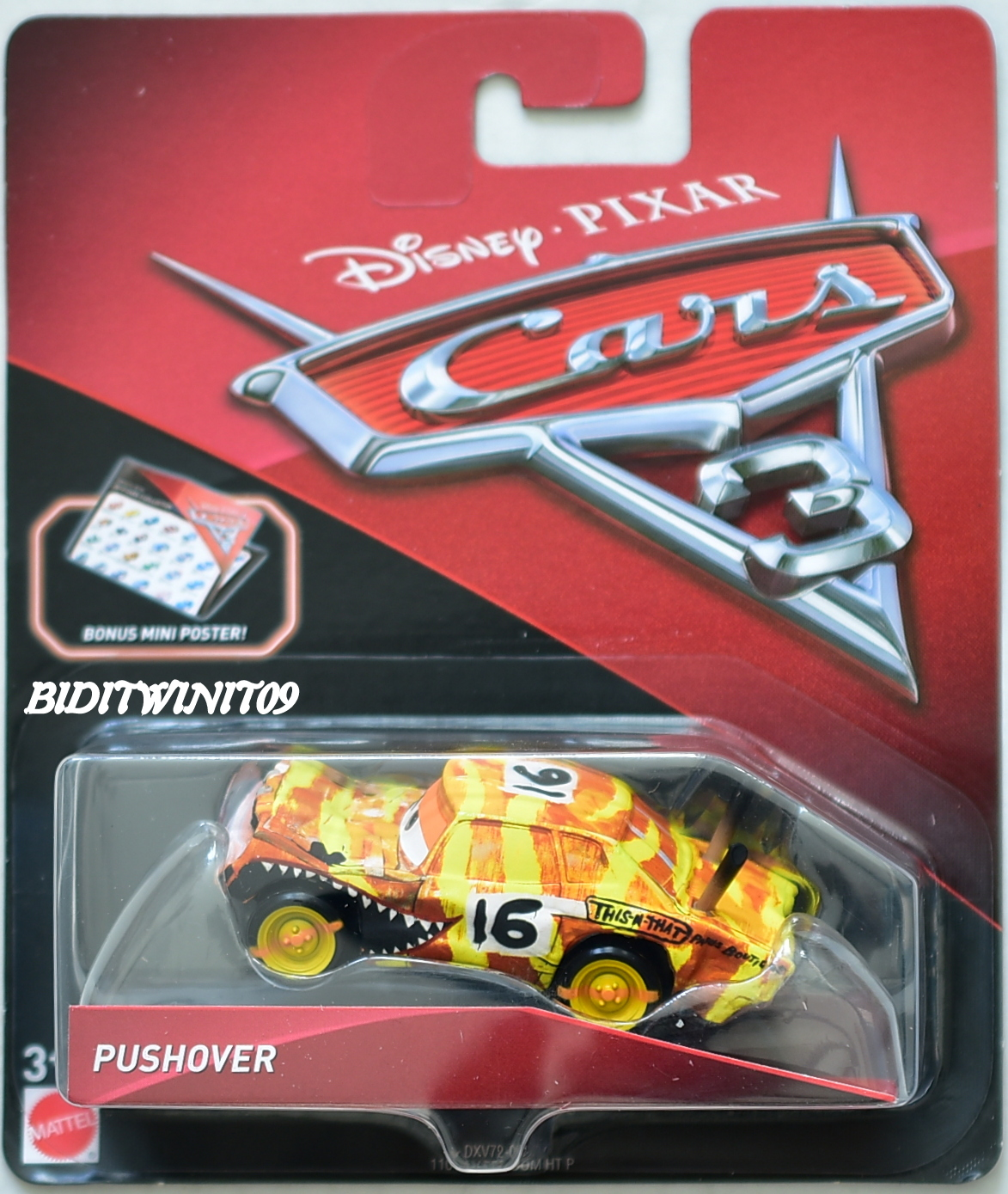 DISNEY PIXAR CARS 3 BONUS MINI POSTER PUSHOVER