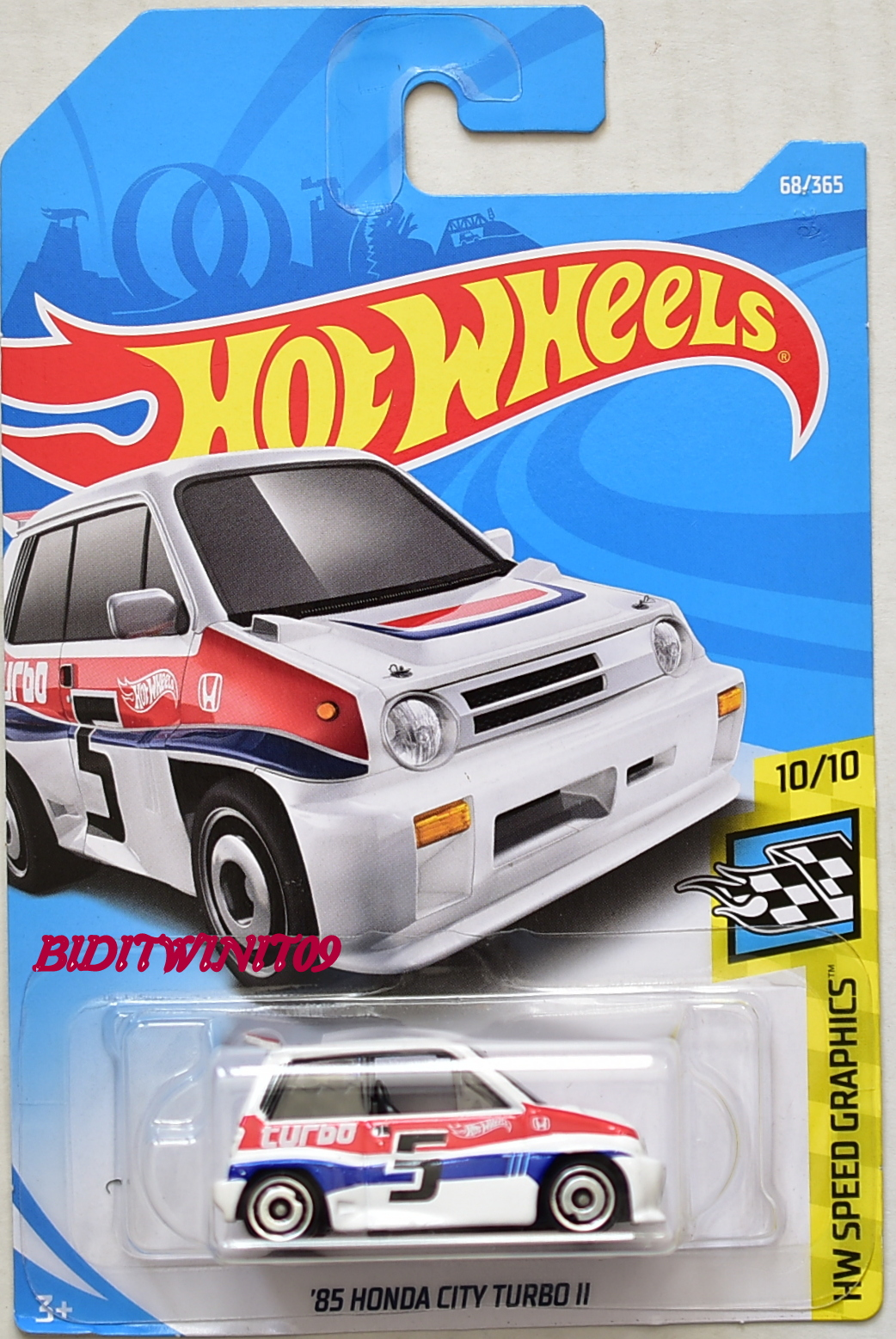 HOT WHEELS 2018 HW SPEED GRAPHICS '85 HONDA CITY TURBO II #10/10 WHITE E+