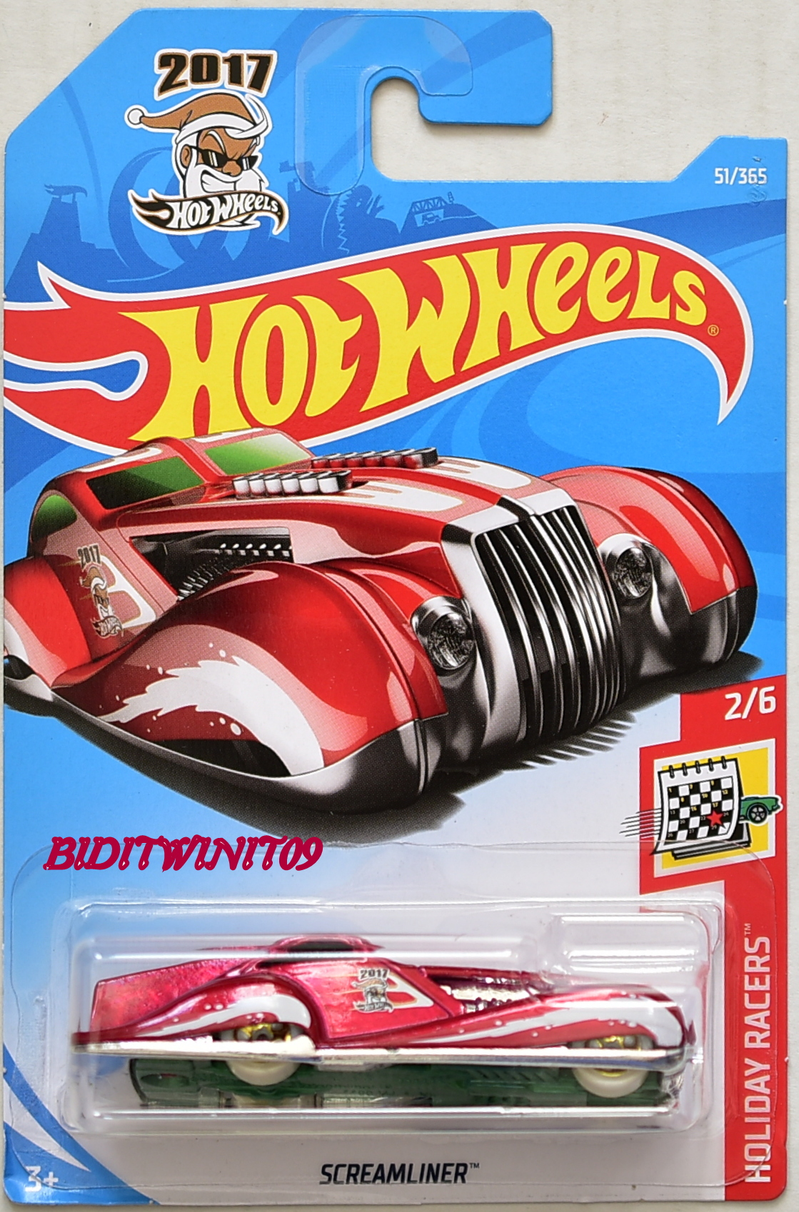 HOT WHEELS 2018 HOILIDAY RACERS SCREAMLINER RED