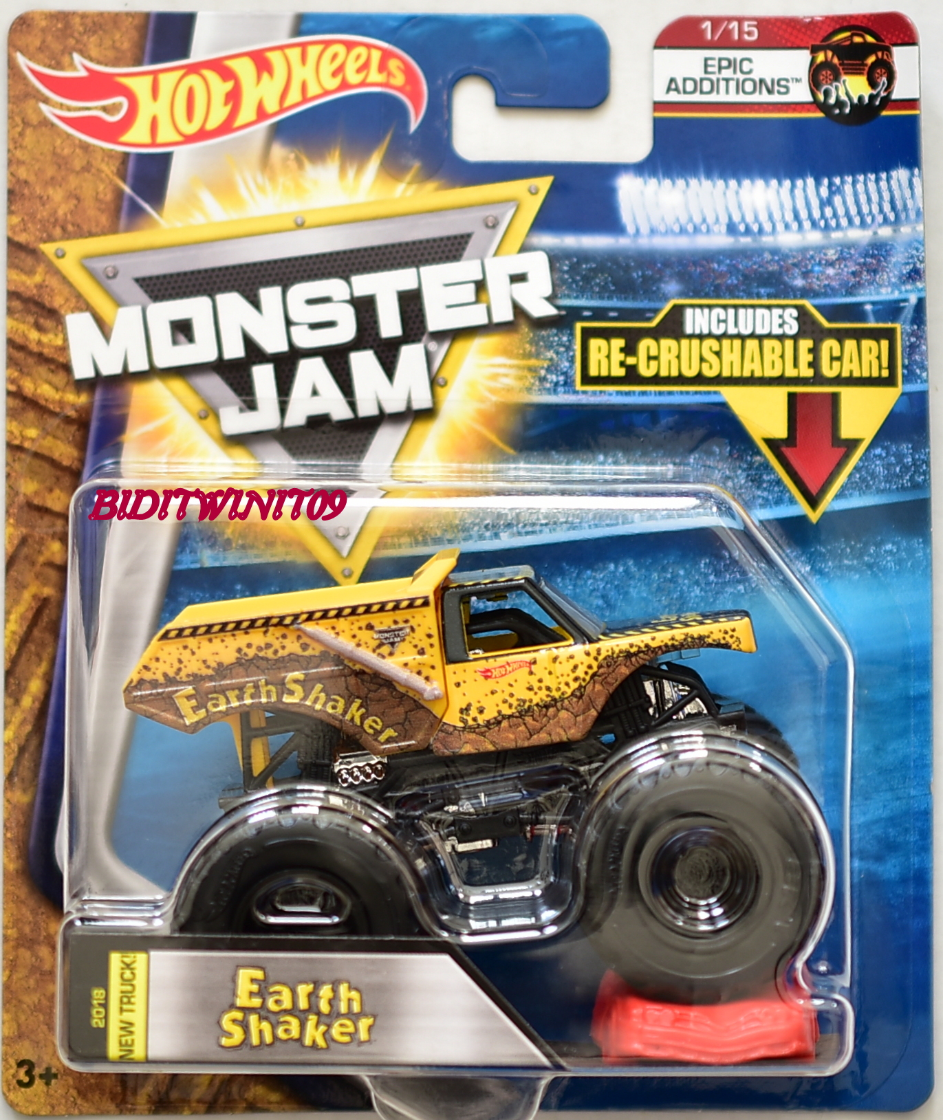 HOT WHEELS 2017 MONSTER JAM W/ RE-CRUSHABLE CAR EARTH SHAKER EPIC ADDITIONS