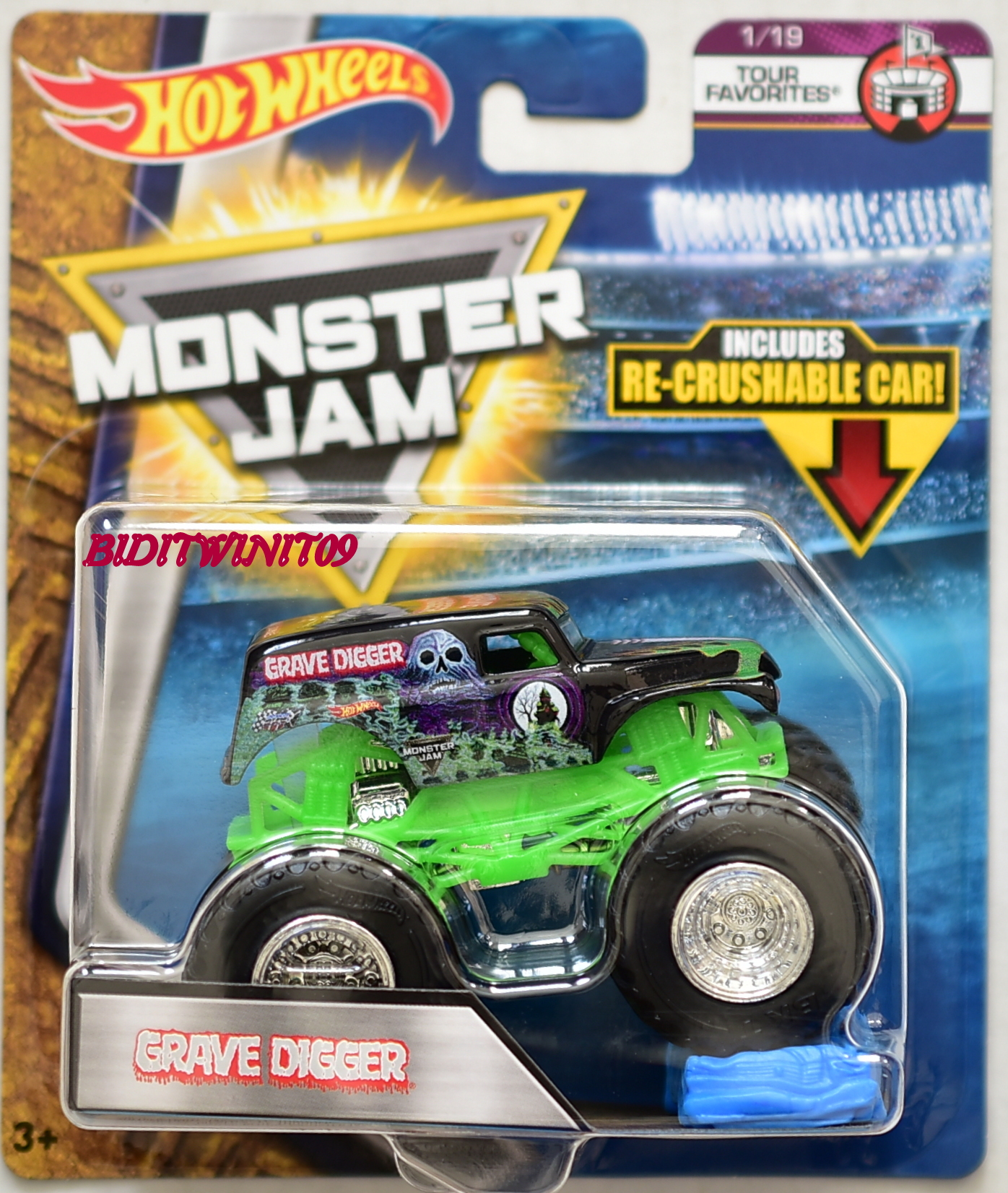 HOT WHEELS 2017 MONSTER JAM W/ RE-CRUSHABLE CAR GRAVE DIGGER TOUR FAVORITES