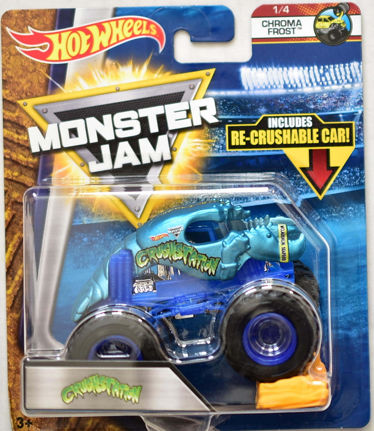 HOT WHEELS 2017 MONSTER JAM W/ RE-CRUSHABLE CAR CRUSHSTATION CHROMA FROST