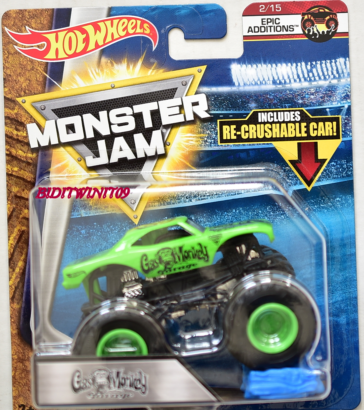 HOT WHEELS 2017 MONSTER JAM GAS MONKEY GARAGE EPIC ADDITIONS W/ RE-CRUSHABLE CAR