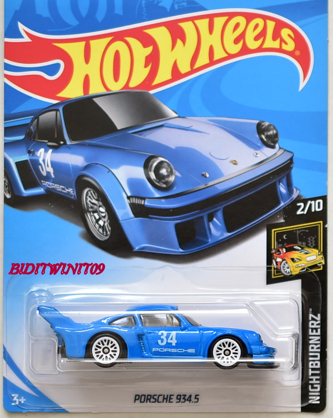 HOT WHEELS 2018 NIGHTBURNERZ PORSCHE 934.5 #2/10 BLUE