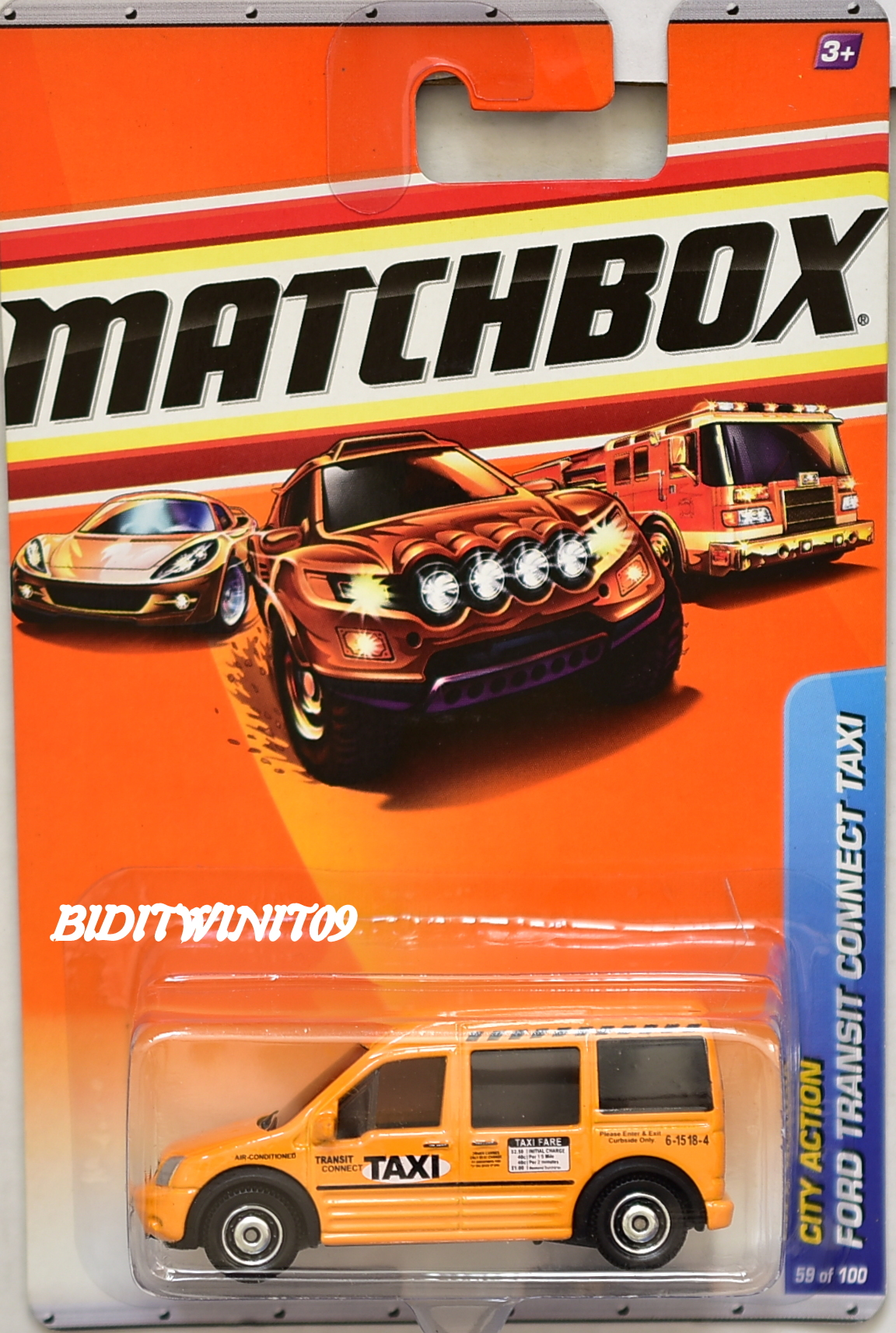 MATCHBOX 2010 CITY ACTION FORD TRANSIT CONNECT TAXI #59/100