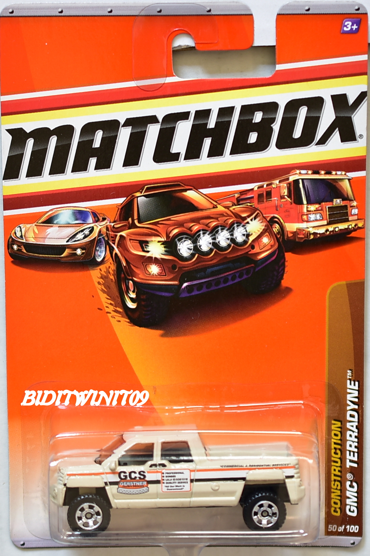 MATCHBOX 2010 CONSTRUCTION GMC TERRADYNE #50/100 WHITE E+