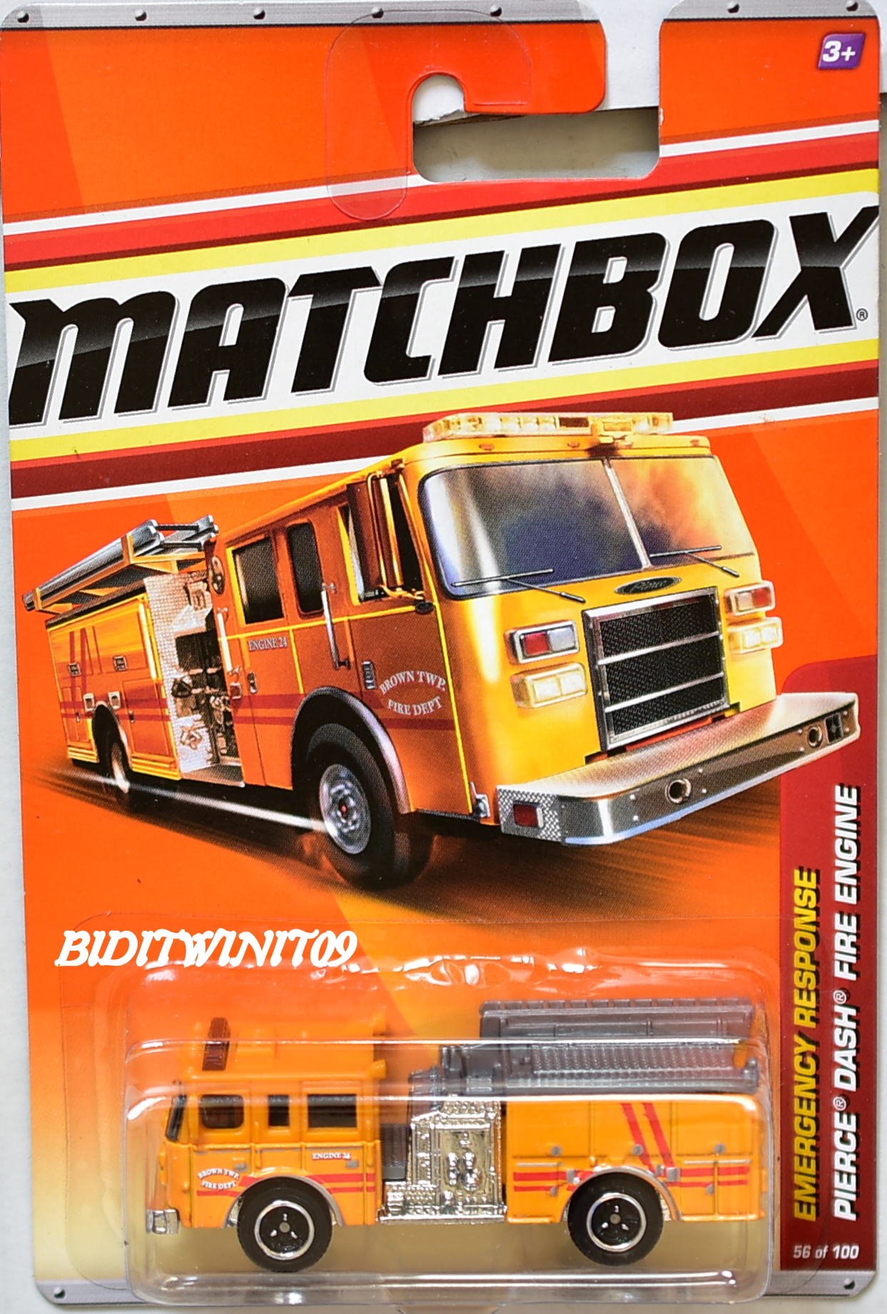 MATCHBOX 2011 EMERGENCY RESPONSE PIERCE DASH FIRE ENGINE #56/100 E+