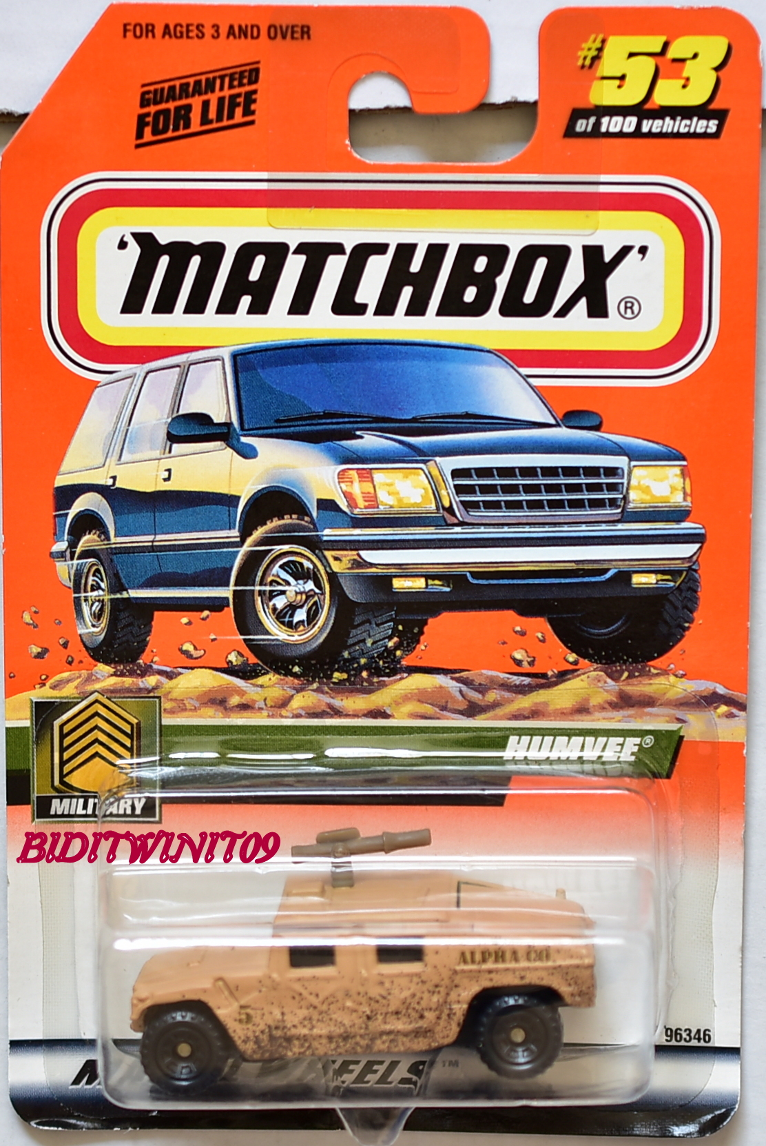 MATCHBOX 2000 MILITARY HUMVEE #53 E+