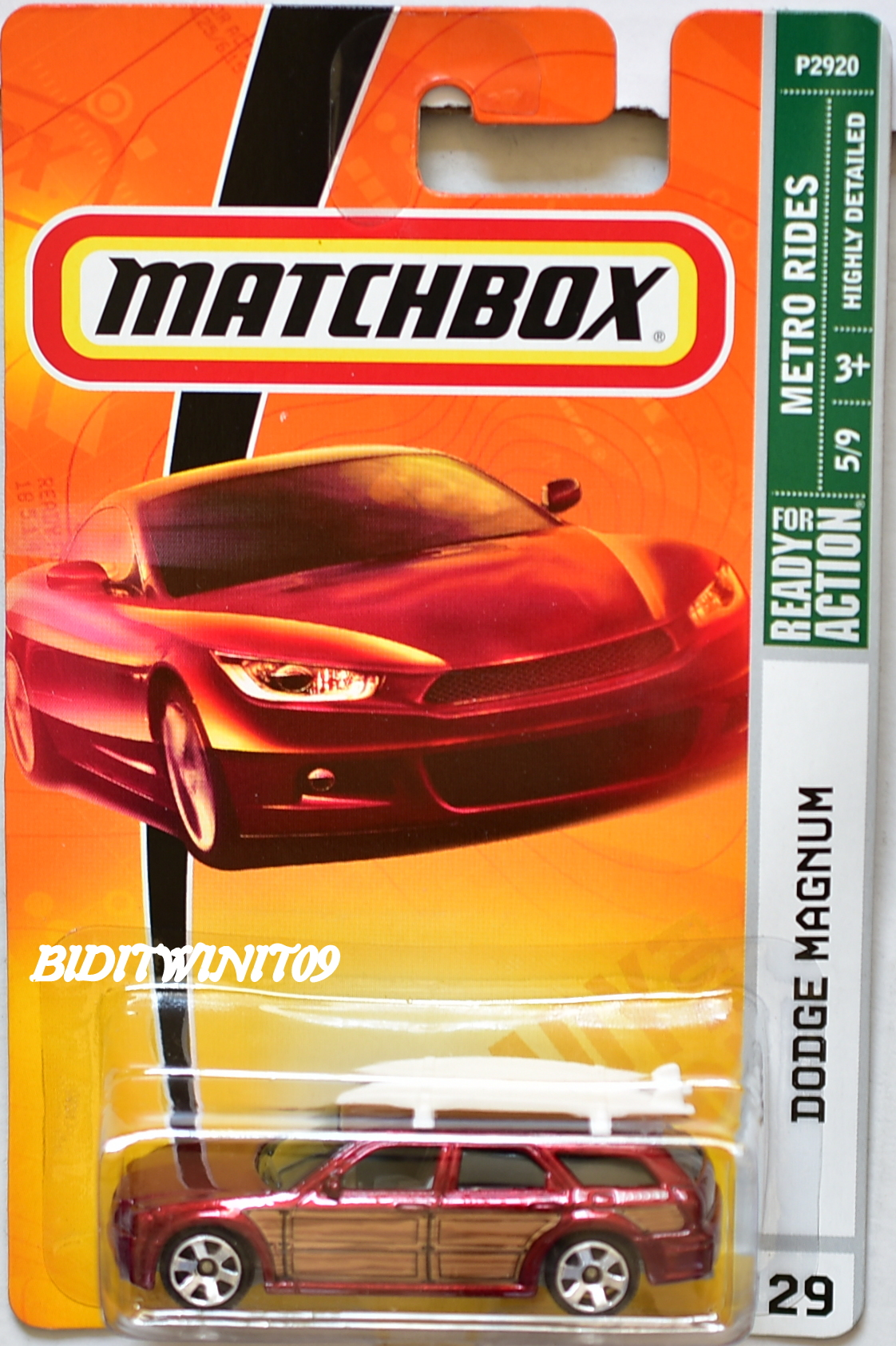 MATCHBOX 2009 METRO RIDES DODGE MAGNUM #29 RED E+