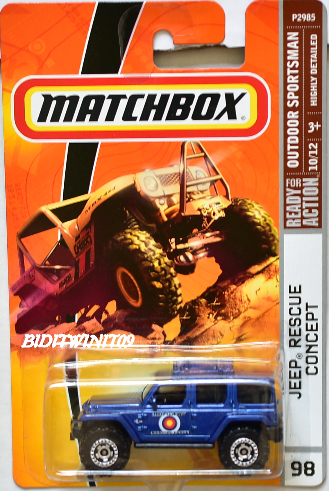 MATCHBOX 2008 OUTDOOR SPORTSMAN JEEP RESCUE CONCEPT #98 BLUE E+