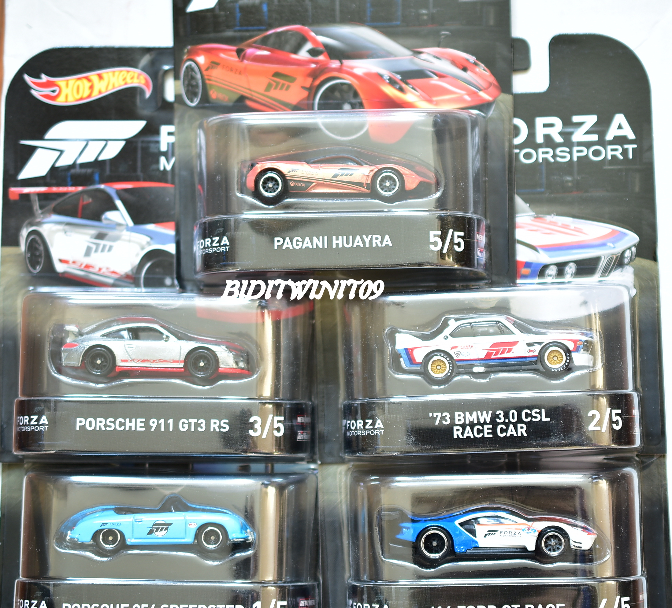 HOT WHEELS 2017 RETRO ENTERTAINMENT SET OF 5 FORZA MOTORSPORT BMW PORSCHE FORD