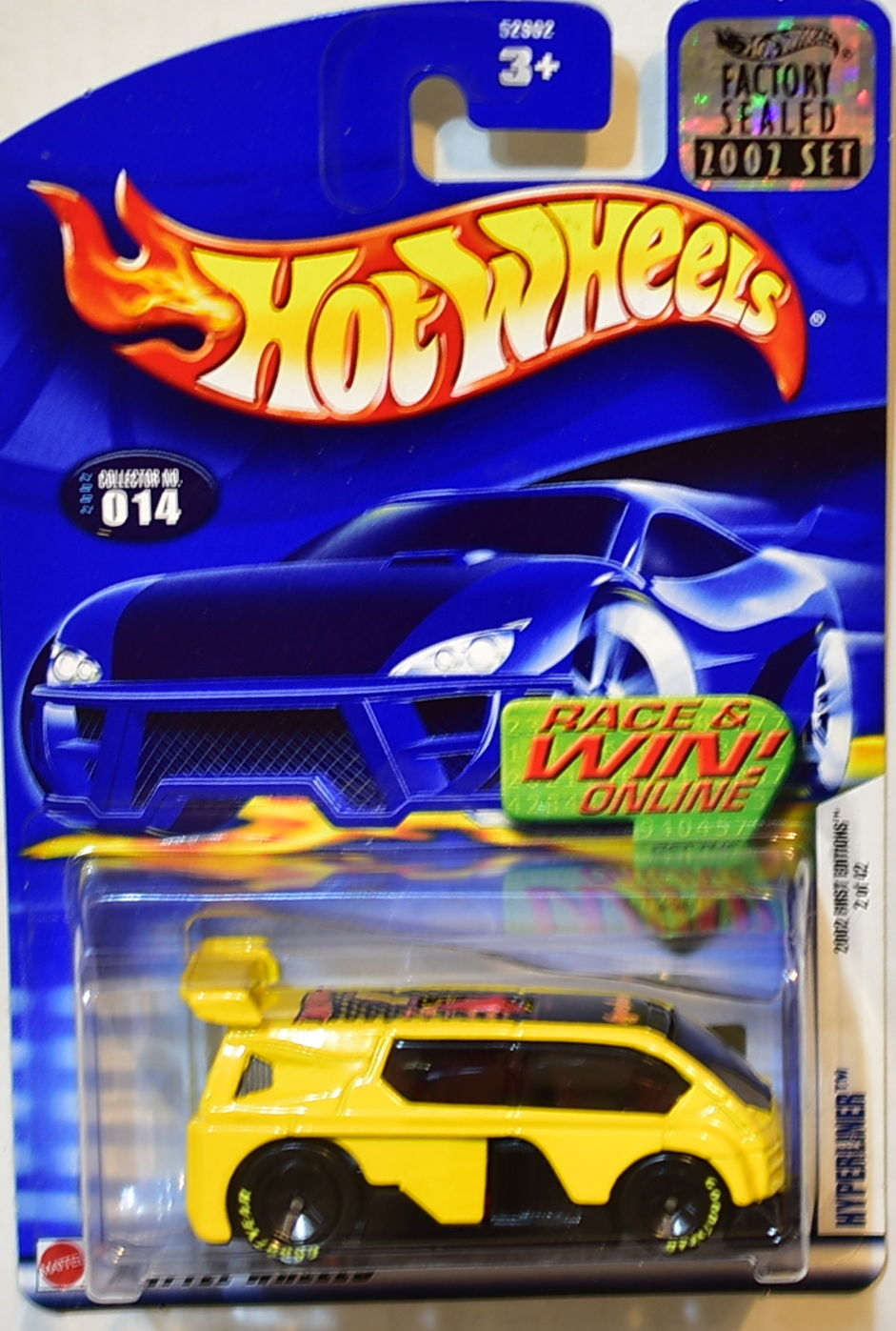HOT WHEELS 2002 FIRST EDITIONS HYPERLINER #014 YELLOW FACTORY SEALED