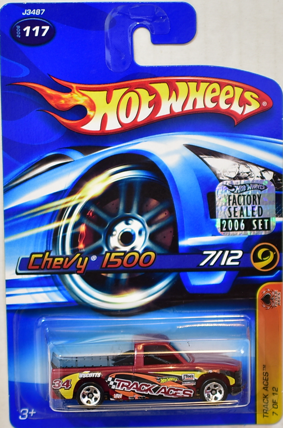 HOT WHEELS 2006 TRACK ACES CHEVY 1500 #117 RED FACTORY SEALED