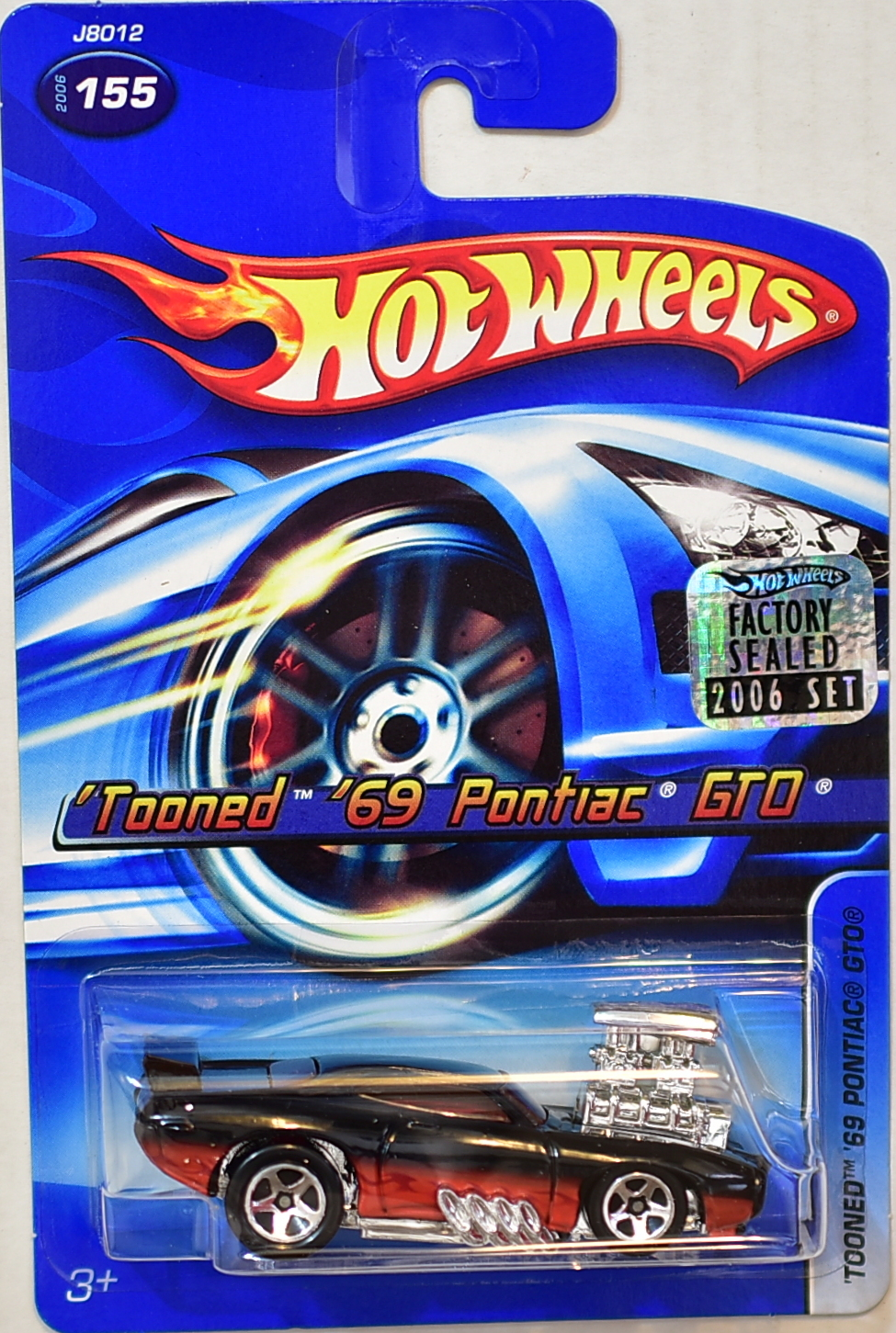 HOT WHEELS 2006 'TOONED '69 PONTIAC GTO #155 BLACK FACTORY SEALED