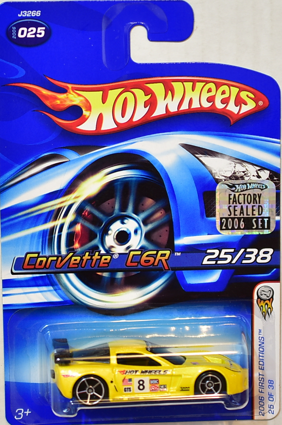 HOT WHEELS 2006 FIRST EDITIONS CORVETTE C6R #025 YELLOW FACTORY SEALED