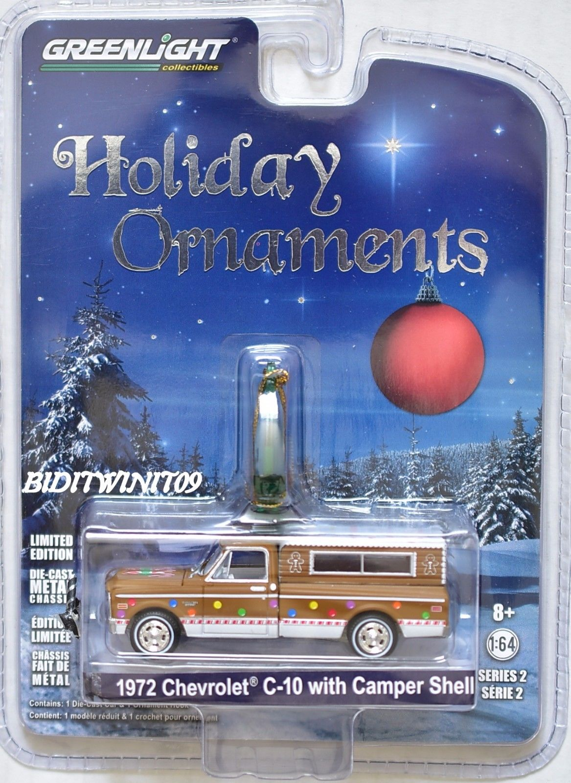 GREENLIGHT 2017 HOLIDAY ORNAMENTS 1972 CHEVROLET C-10 WITH CAMPER SHELL