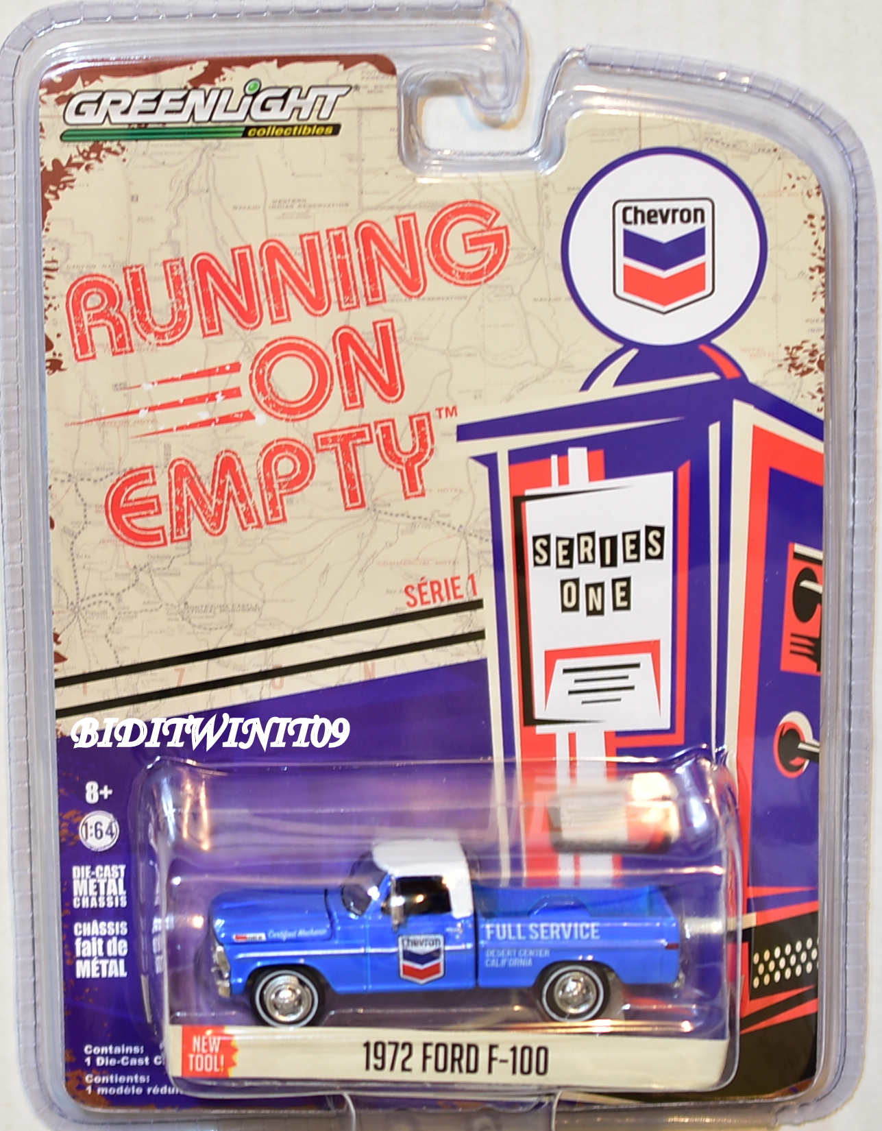GREENLIGHT RUNNING ON EMPTY SERIES 1 1972 FORD F-100 BLUE E+