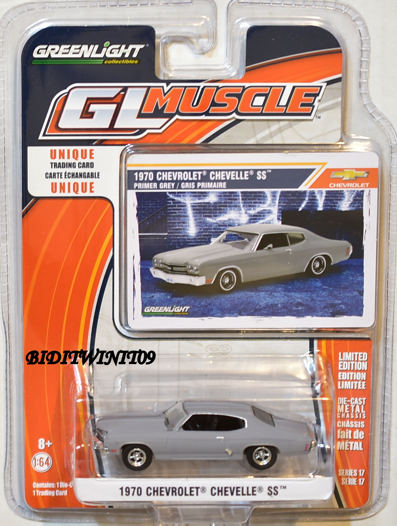 GREENLIGHT GLMUSCLE SERIES 17 1970 CHEVROLET CHEVELLE SS GREY