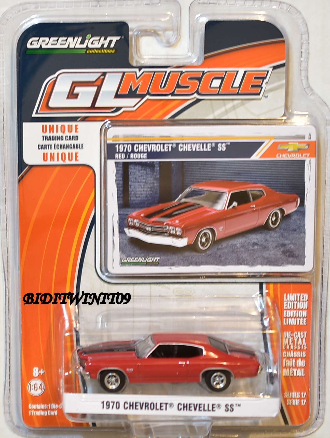 GREENLIGHT GLMUSCLE SERIES 17 1970 CHEVROLET CHEVELLE SS RED