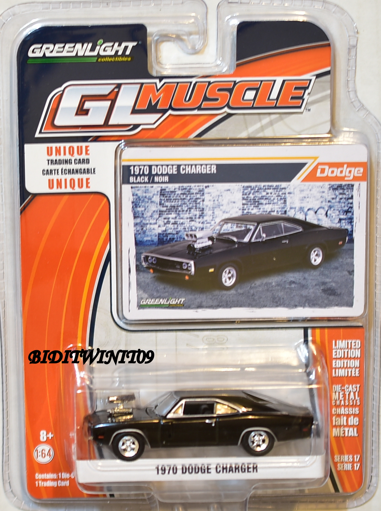 GREENLIGHT GLMUSCLE SERIES 17 1970 DODGE CHARGER BLACK