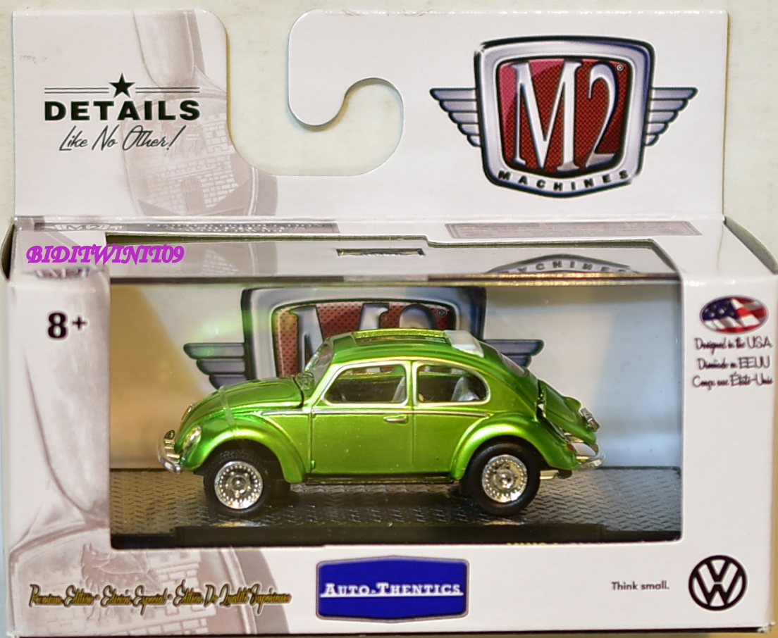 M2 MACHINES AUTO-THENTICS 1953 VW BEETLE DELUXE U.S.A MODEL GREEN E+