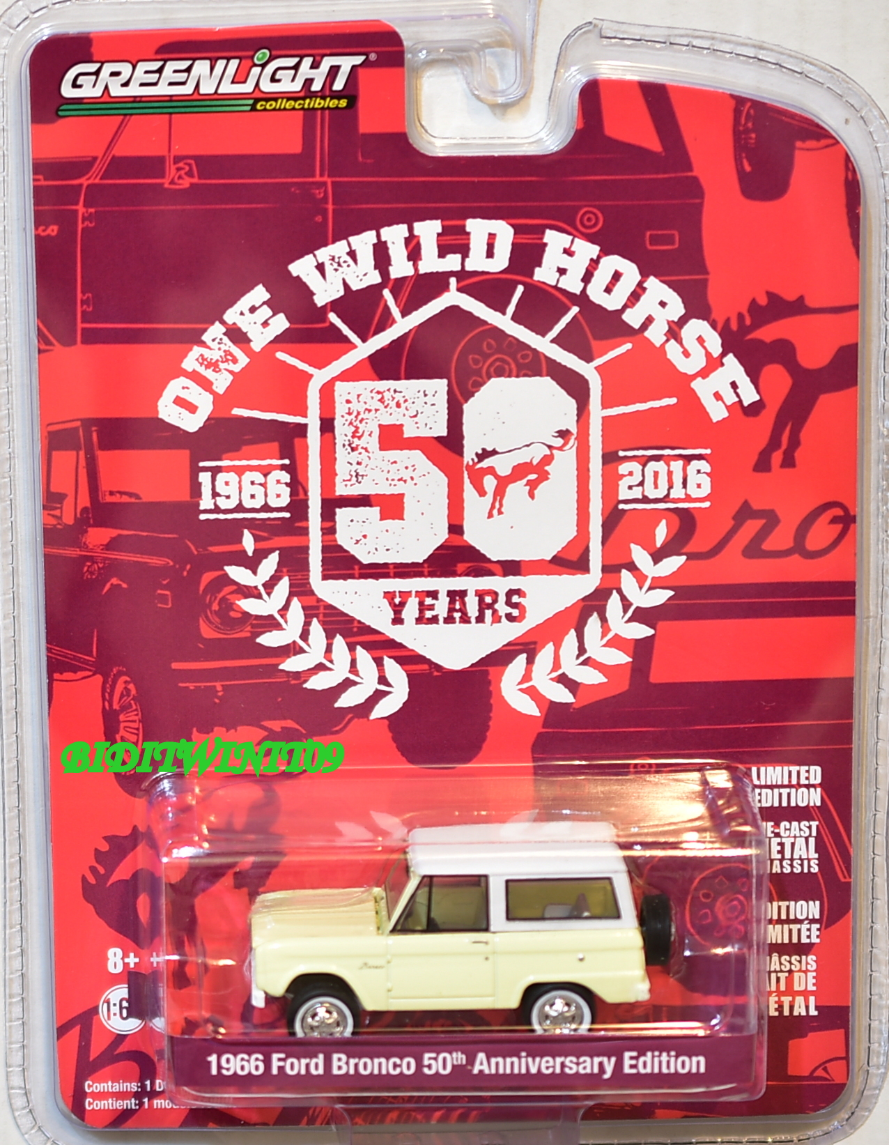 GREENLIGHT 1966 FORD BRONCO 50TH ANNIVERSARY EDITION ONE WILD HORSE