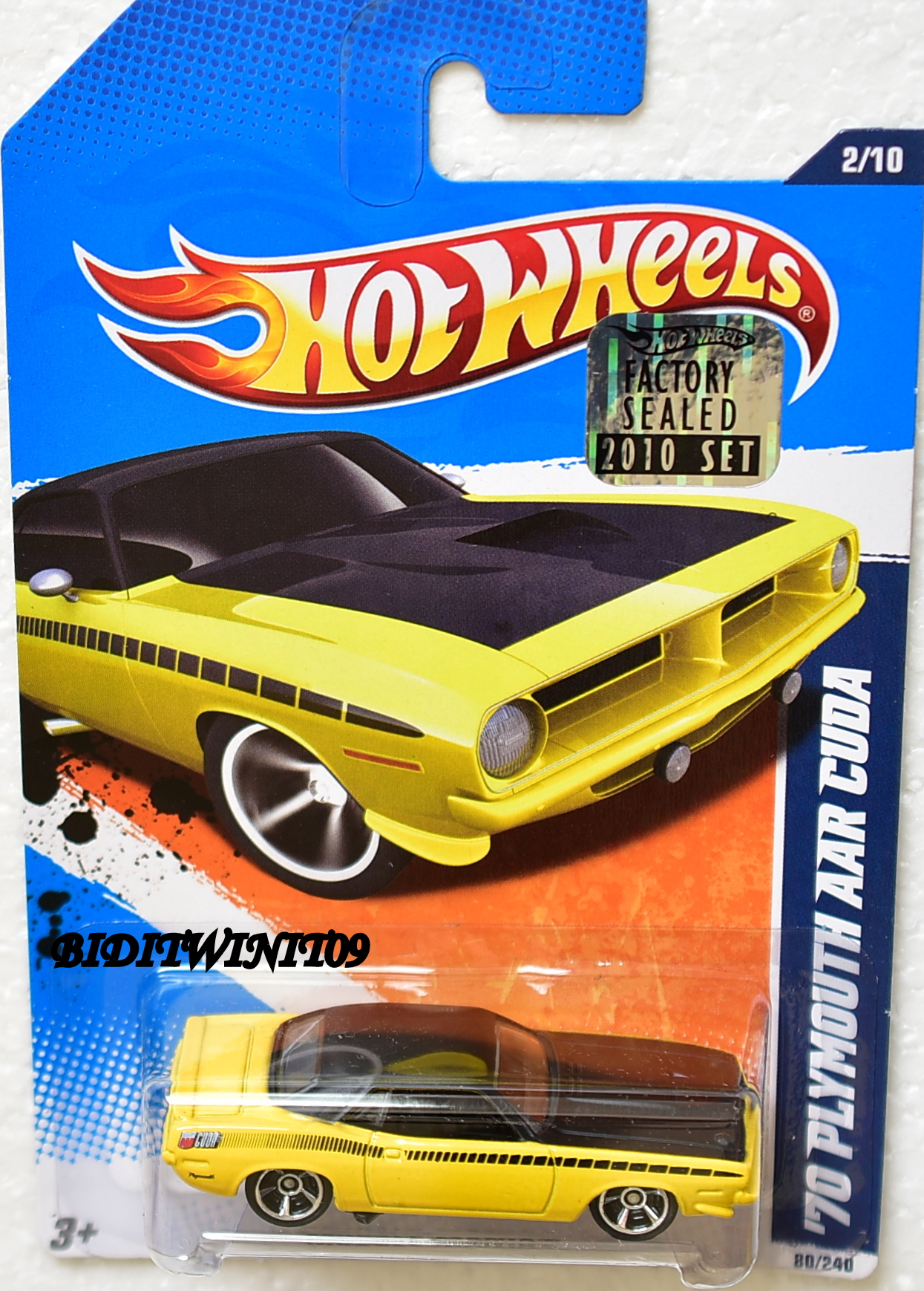 HOT WHEELS 2010 MUSCLE MANIA '70 PLYMOUTH AAR CUDA YELLOW FACTORY SEALED