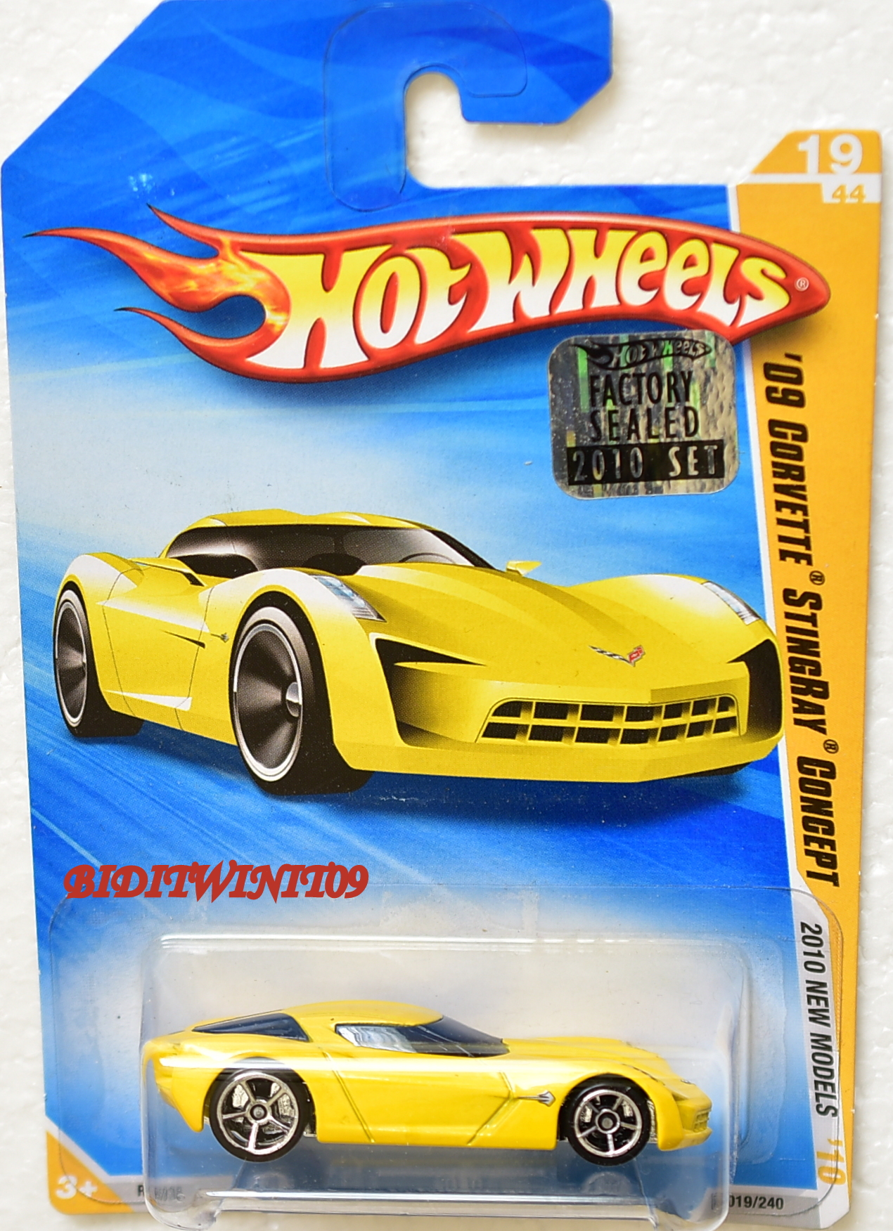 HOT WHEELS 2010 '09 CORVETTE STINGRAY CONCEPT #19/44 YELLOW FACTORY SEALED