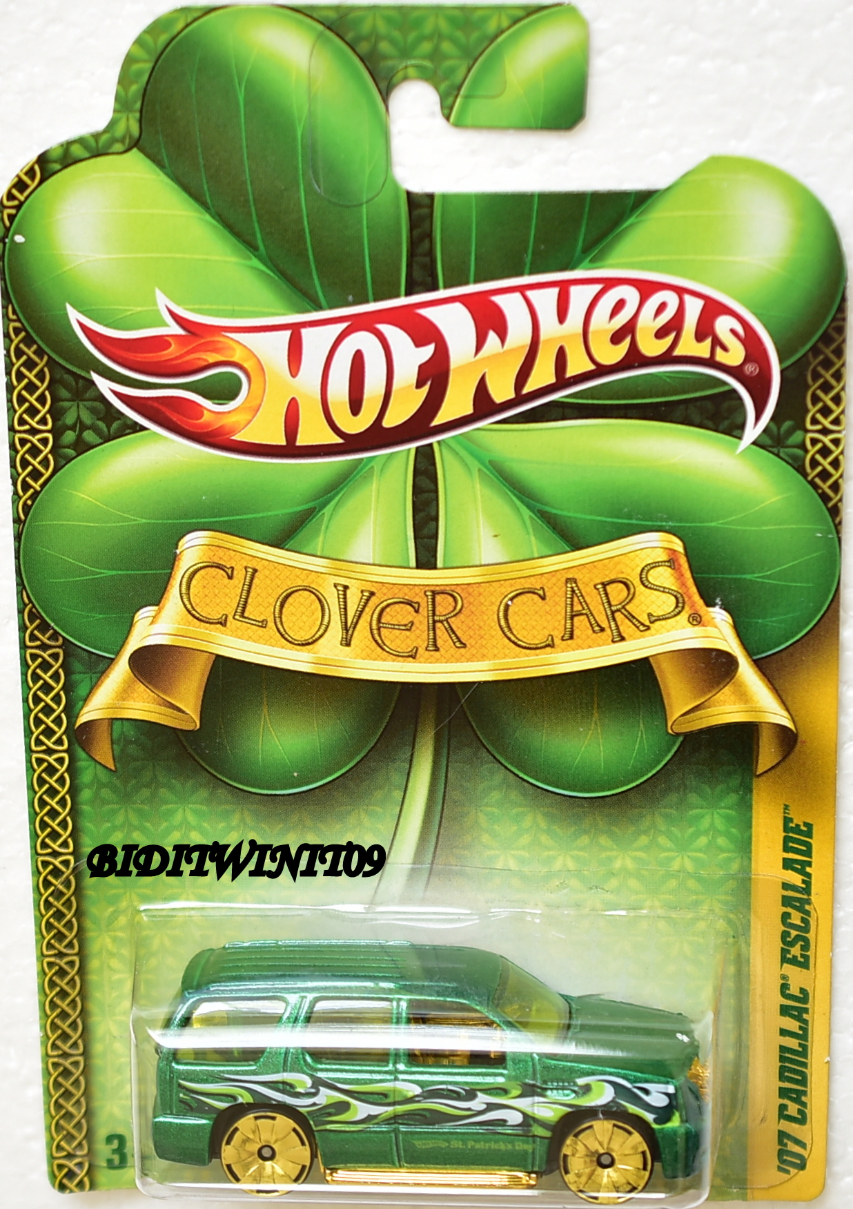 HOT WHEELS 2010 CLOVER CARS '07 CADILLAC ESCALADE GREEN E+