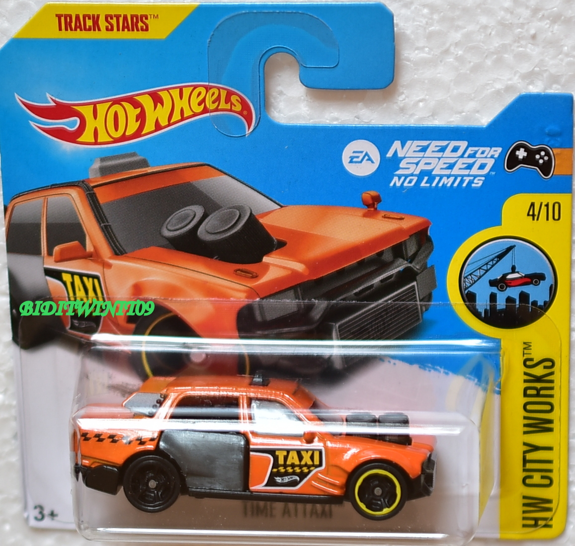 HOT WHEELS 2017 HW CITY WORKS TIME ATTAXI #4/10 ORANGE SHORT CARD