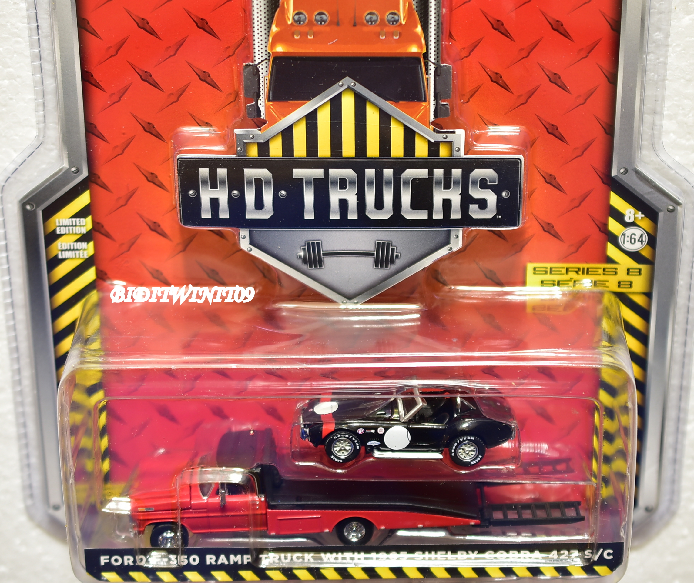 GREENLIGHT .H.D.TRUCKS. FORD F-350 RAMP TRUCK WITH 1965 SHELBY COBRA 427 S/C