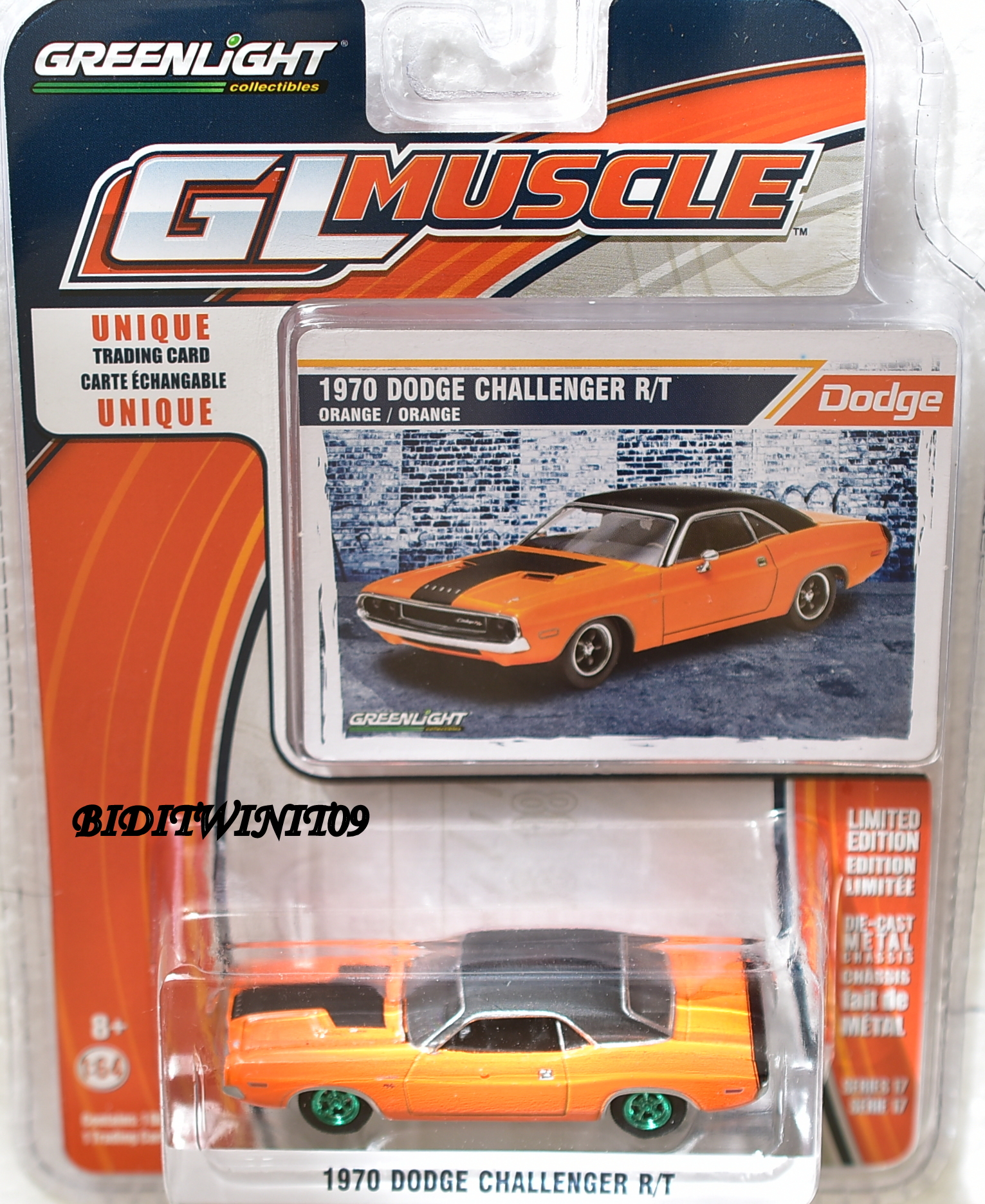 GREENLIGHT GLMUSCLE SERIES 17 1970 DODGE CHALLENGER R/T GREEN MACHINE