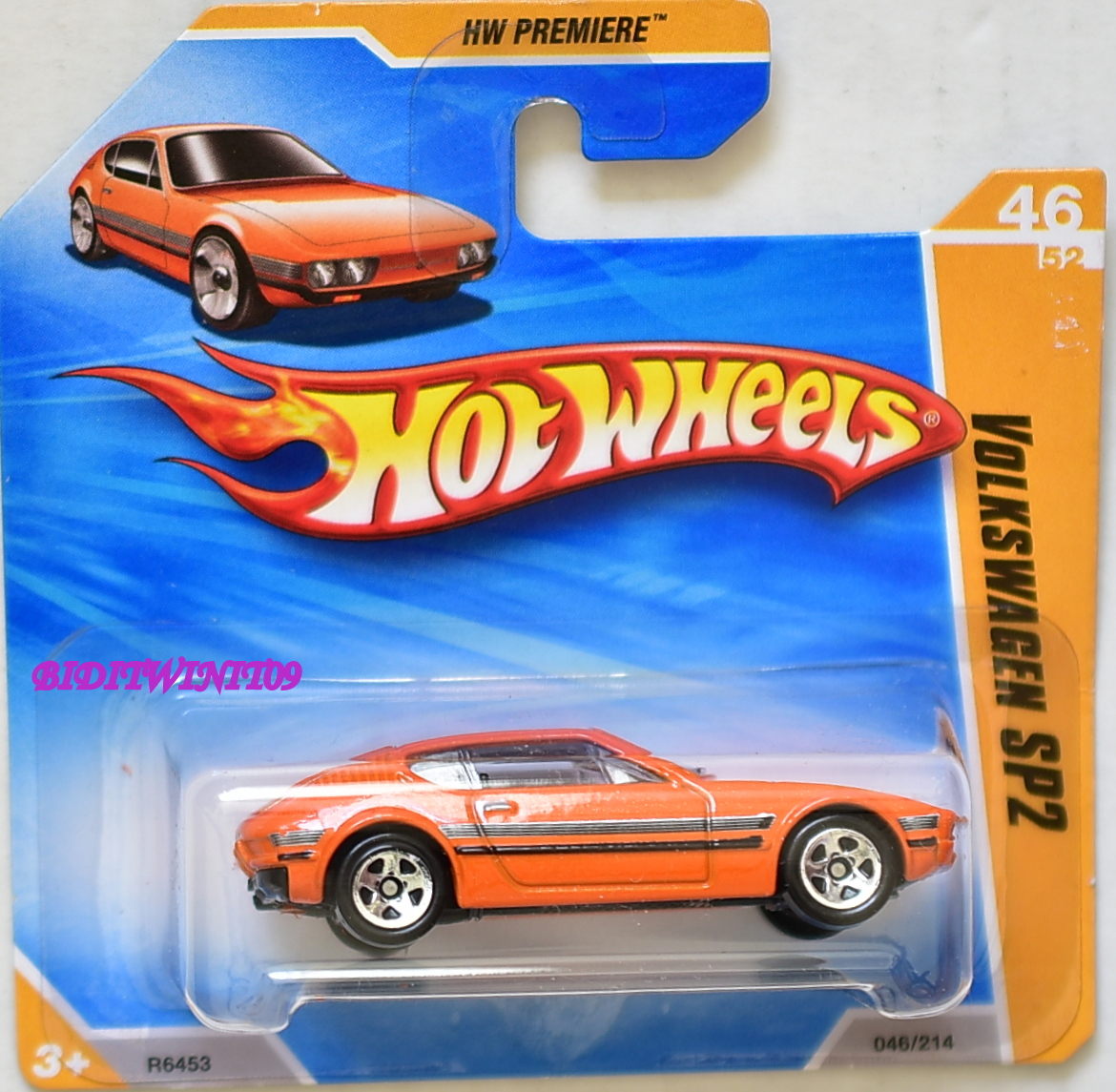 HOT WHEELS 2010 HW PREMIERE VOLKSWAGEN SP2 #46/52 ORANGE SHORT CARD
