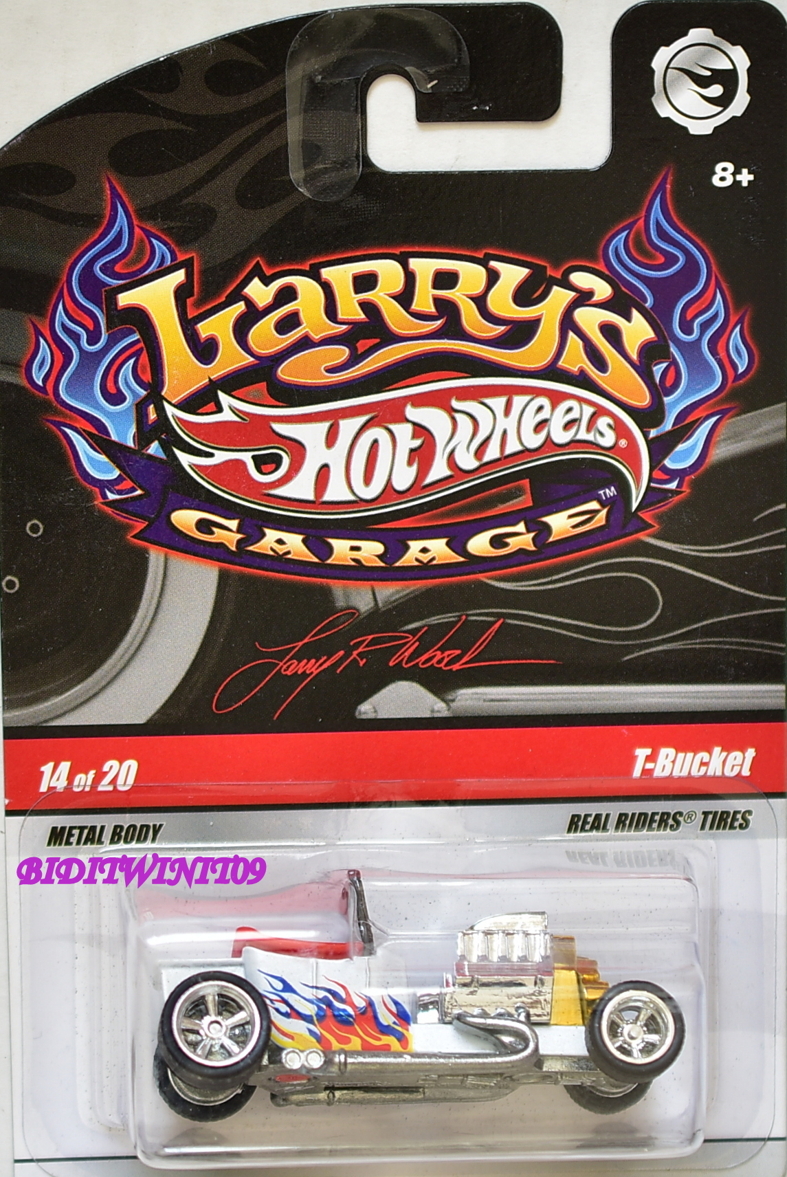 HOT WHEELS 2008 LARRY'S GARAGE #14/20 T-BUCKET WHITE E+
