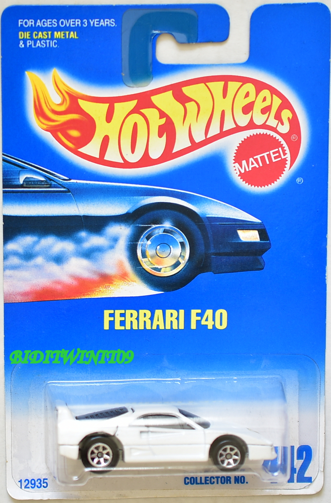 HOT WHEELS 1991 BLUE CARD FERRARI F40 WHITE