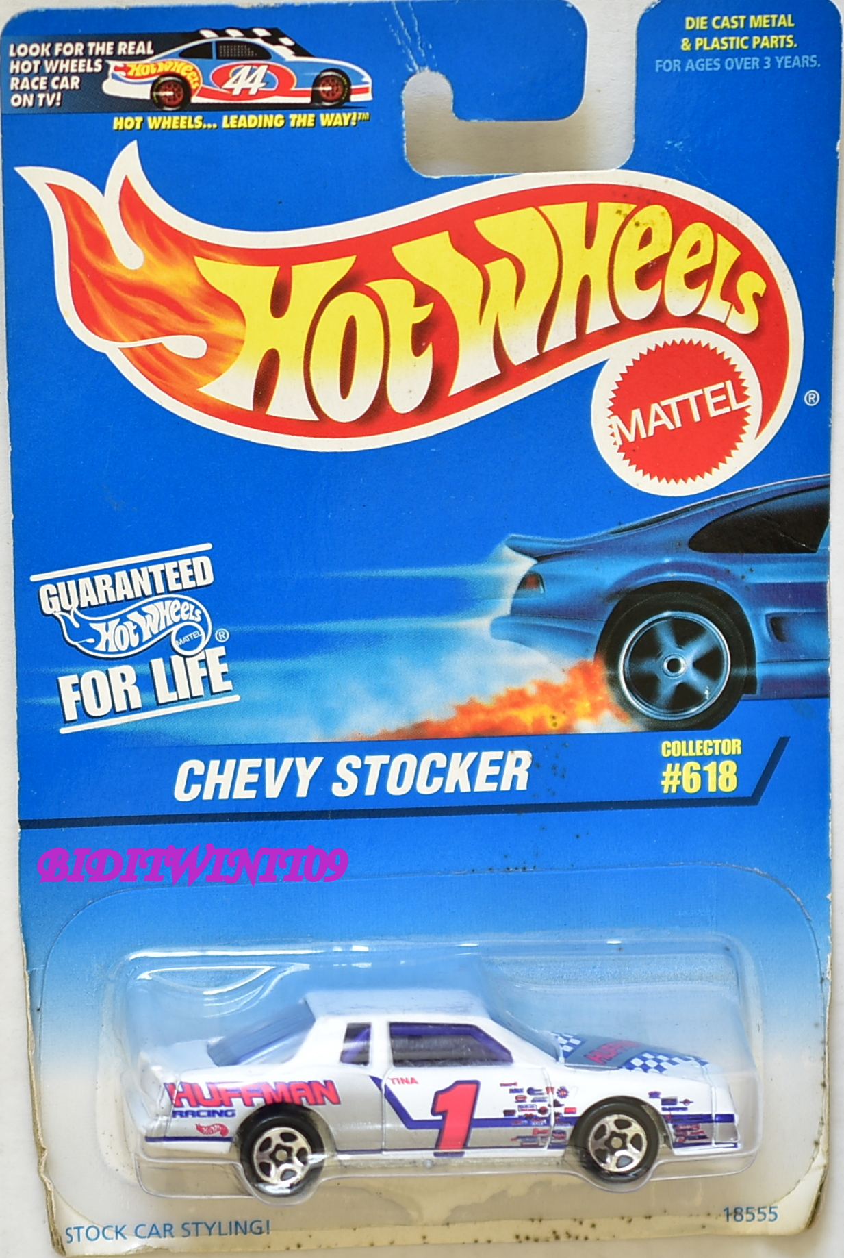 HOT WHEELS 1997 CHEVY STOCKER #618 WHITE BAD CARD