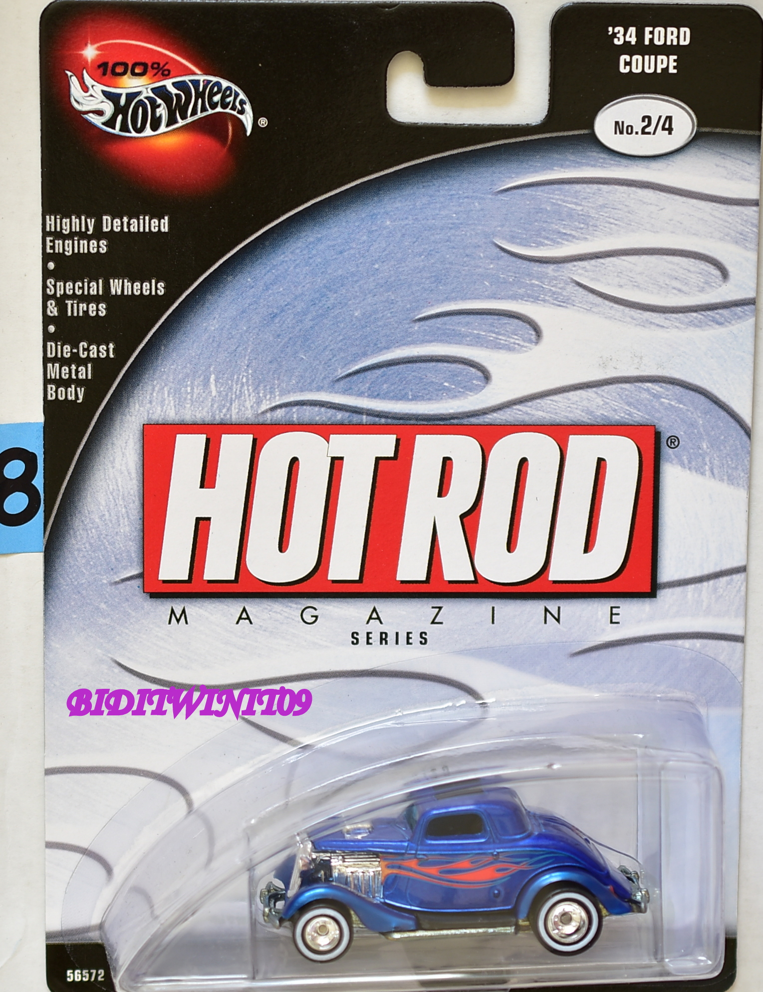 HOT WHEELS 100% HOT ROD MAGAZINE '34 FORD COUPE #2/4 BLUE