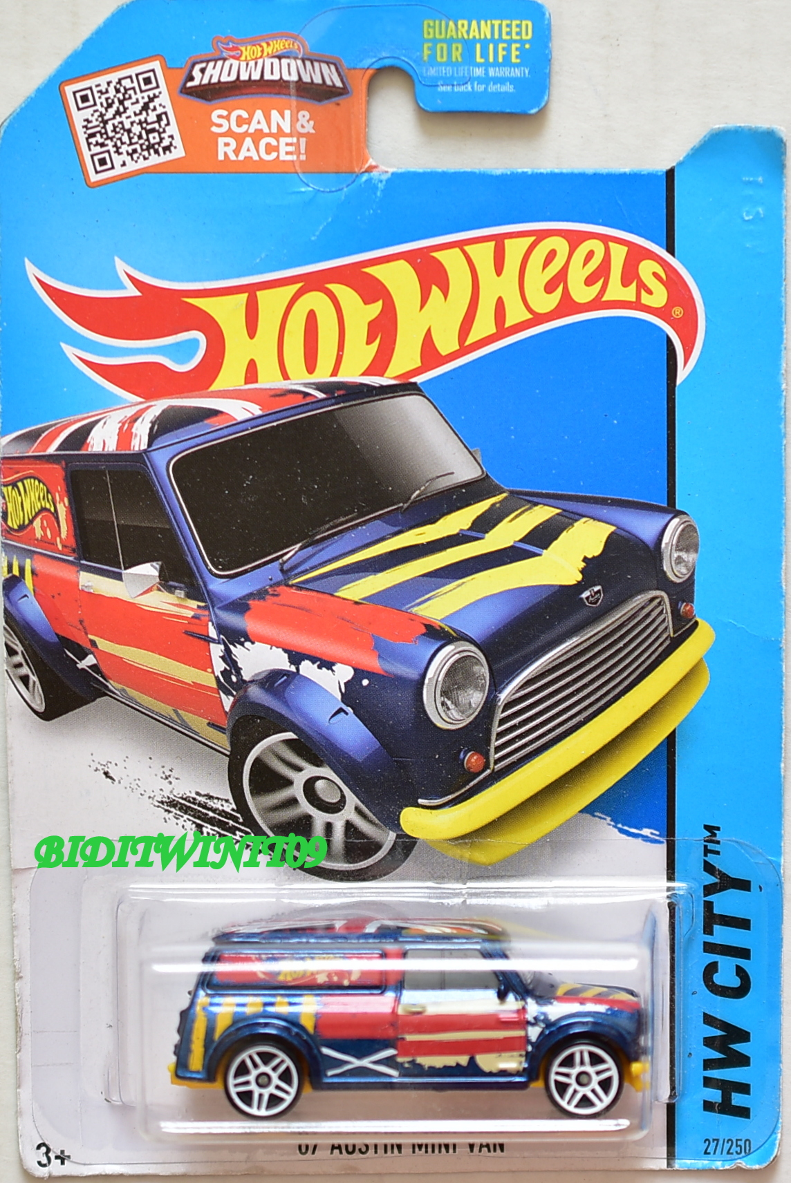 HOT WHEELS 2015 HW CITY - HW ART CARS '67 AUSTIN MINI VAN BLUE BAD CARD E+