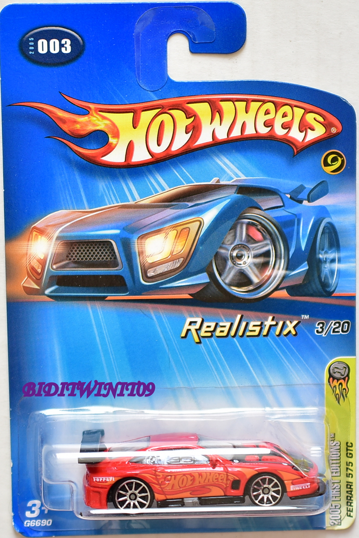 HOT WHEELS 2005 FIRST EDITIONS - REALISTIX FERRARI 575 GTC #003 W/ 10 SP WHEELS