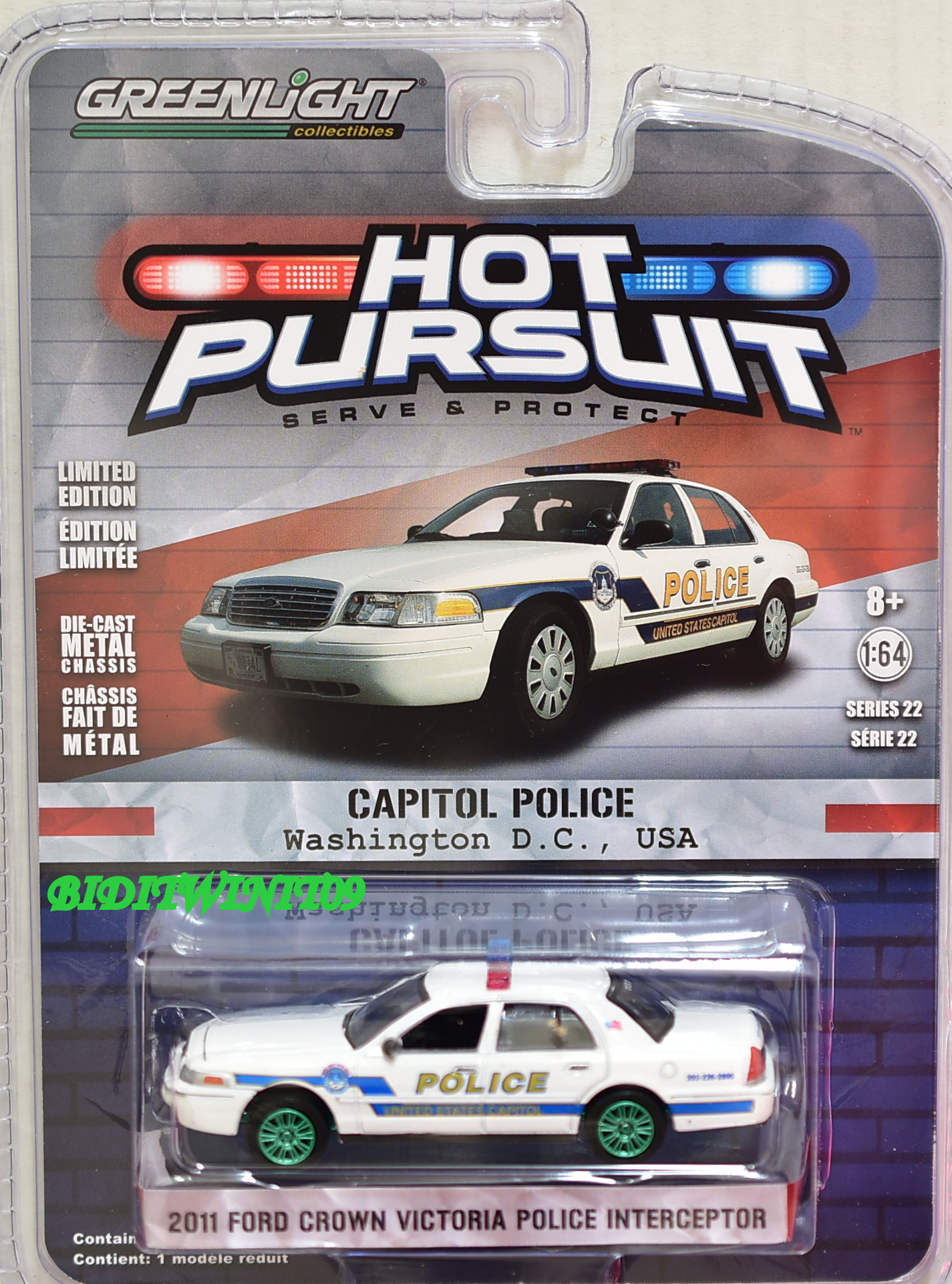 GREENLIGHT GREEN MACHINE 2011 FORD CROWN VICTORIA POLICE INTERCEPTOR SERIES 22
