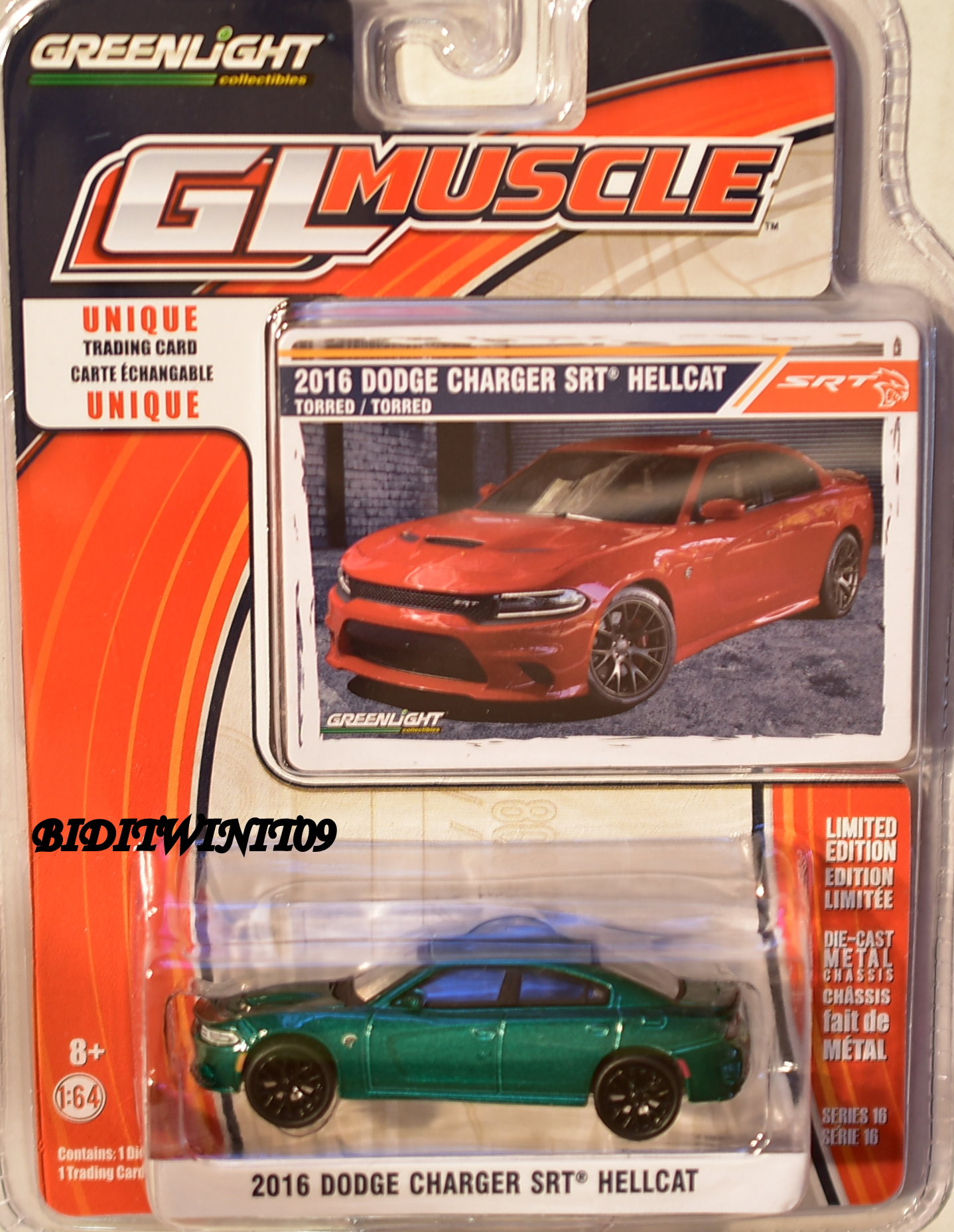 GREENLIGHT GLMUSCLE DODGE CHARGER SRT HELLCAT SERIES 16 GREEN MACHINE E+