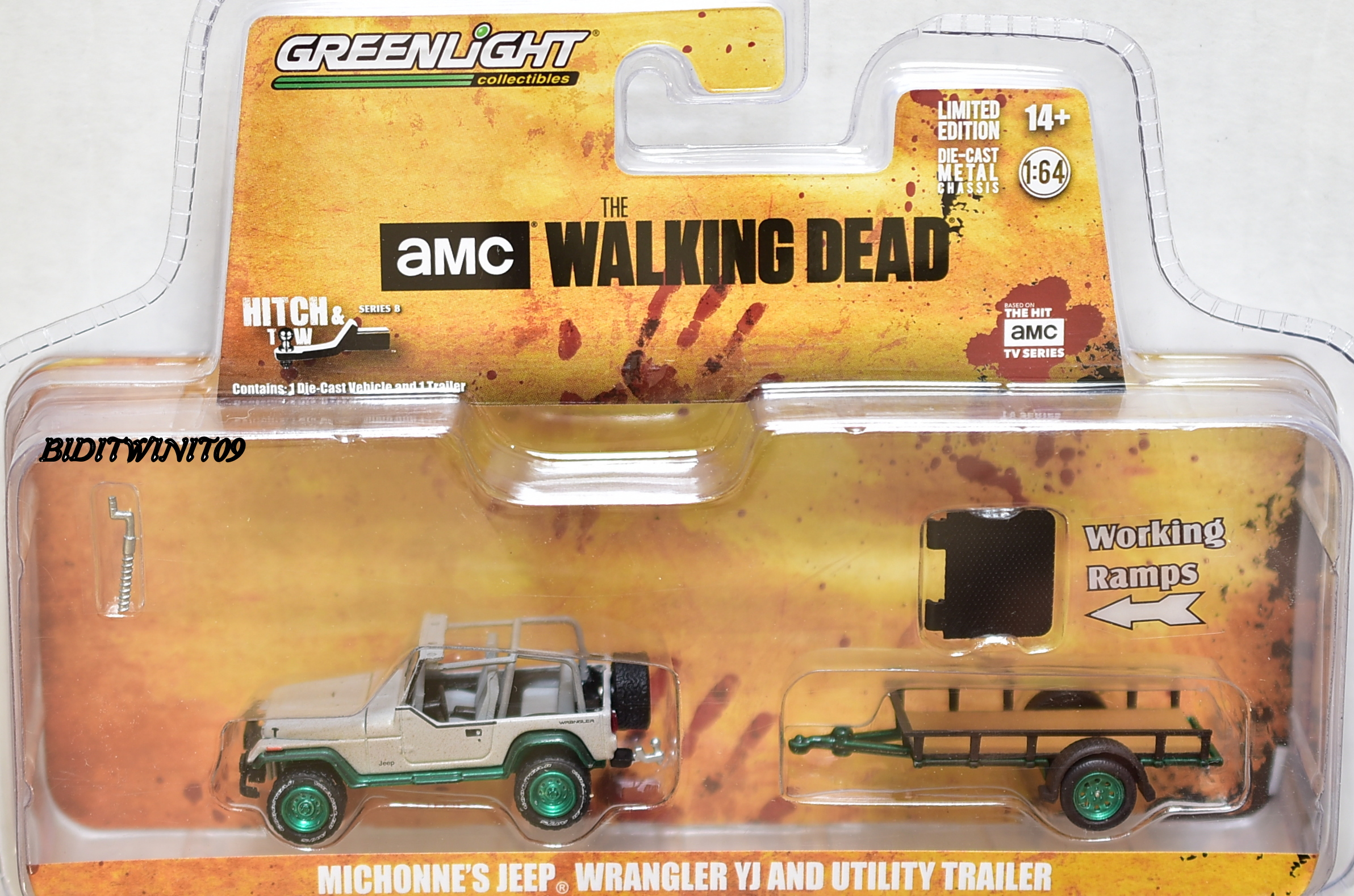 GREENLIGHT GREEN MACHINE MICHONNE'S JEEP WRANGLER YJ AND UTILITY TRAILER E+