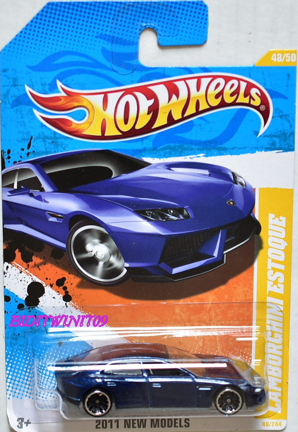HOT WHEELS 2011 NEW MODELS LAMBORGHINI ESTOQUE #48/50 BLUE E+