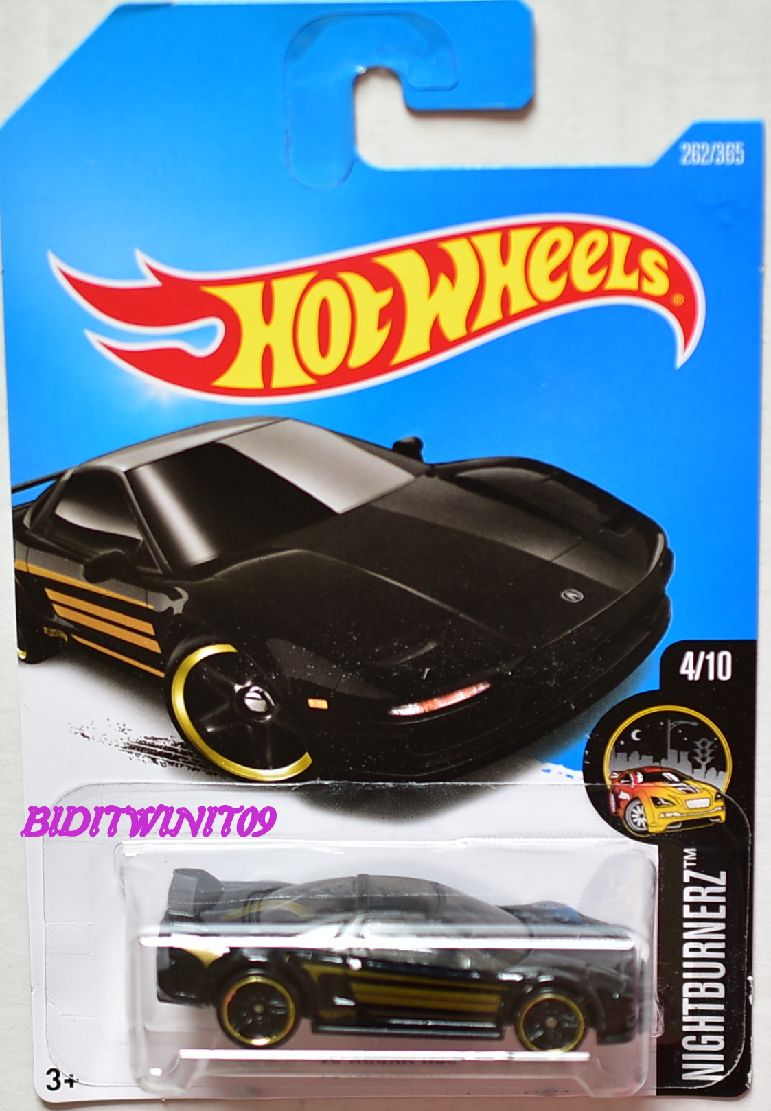 HOT WHEELS 2017 NIGHTBURNERZ '90 ACURA NSX BLACK